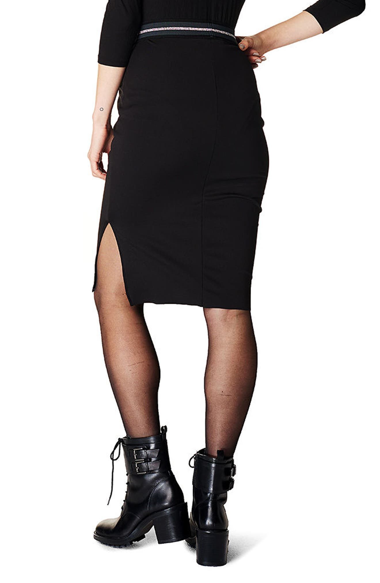 High Waist Scuba Maternity Skirt,                             Alternate thumbnail 2, color,                             Black
