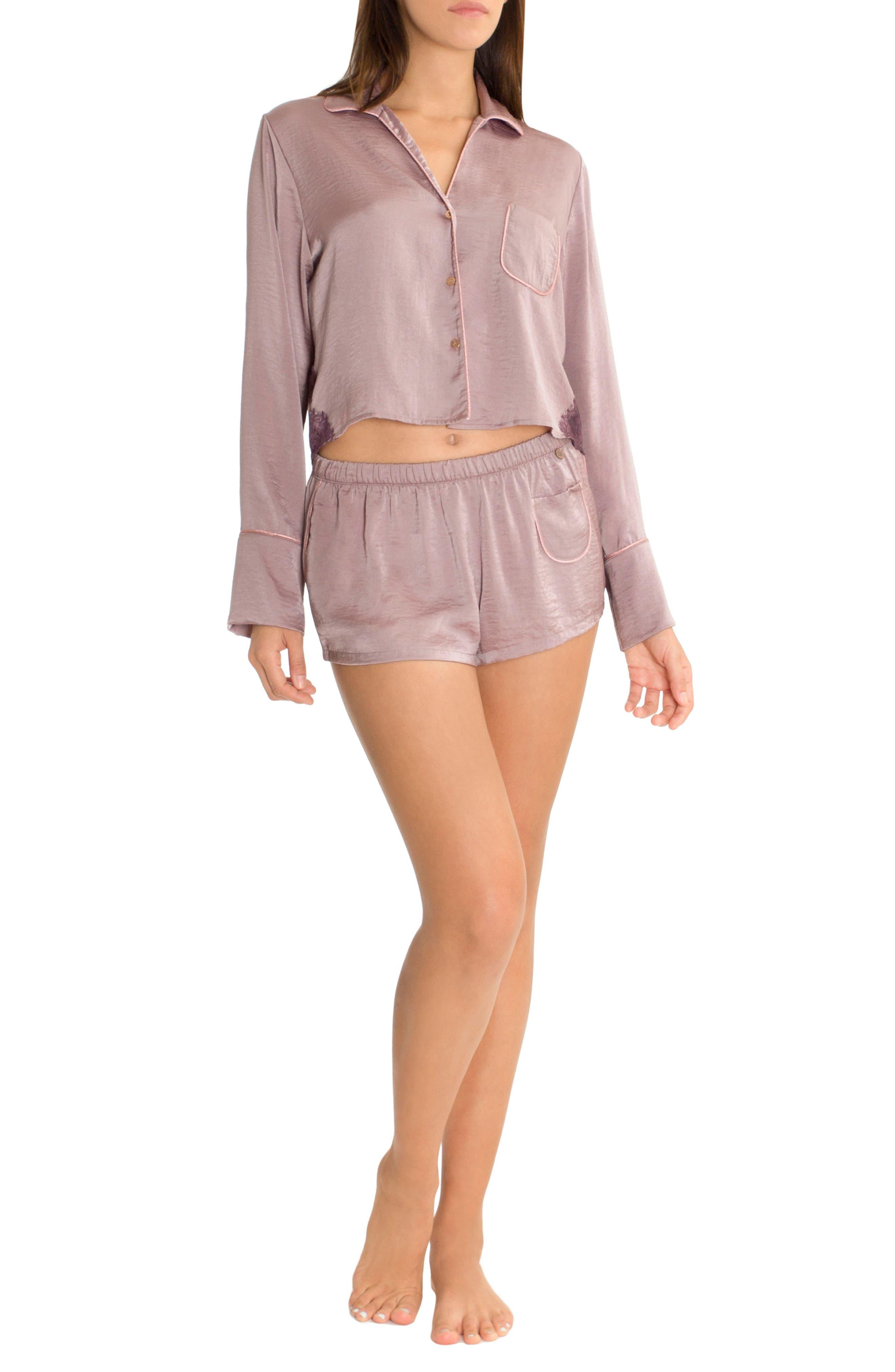 Crop Pajama Top,                             Alternate thumbnail 4, color,                             Lilac