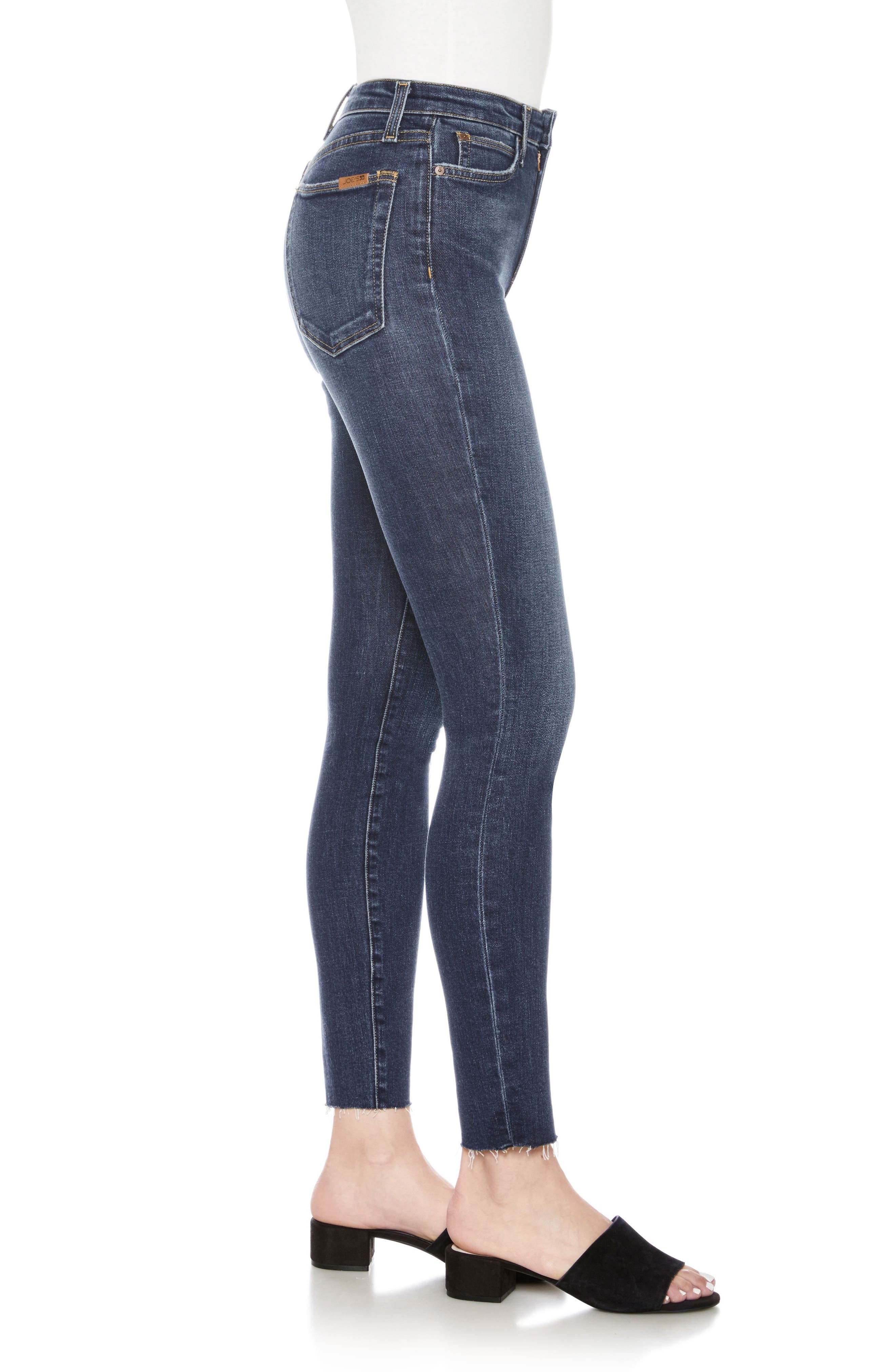 Flawless - Charlie High Waist Ankle Skinny Jeans,                             Alternate thumbnail 3, color,                             Theodora
