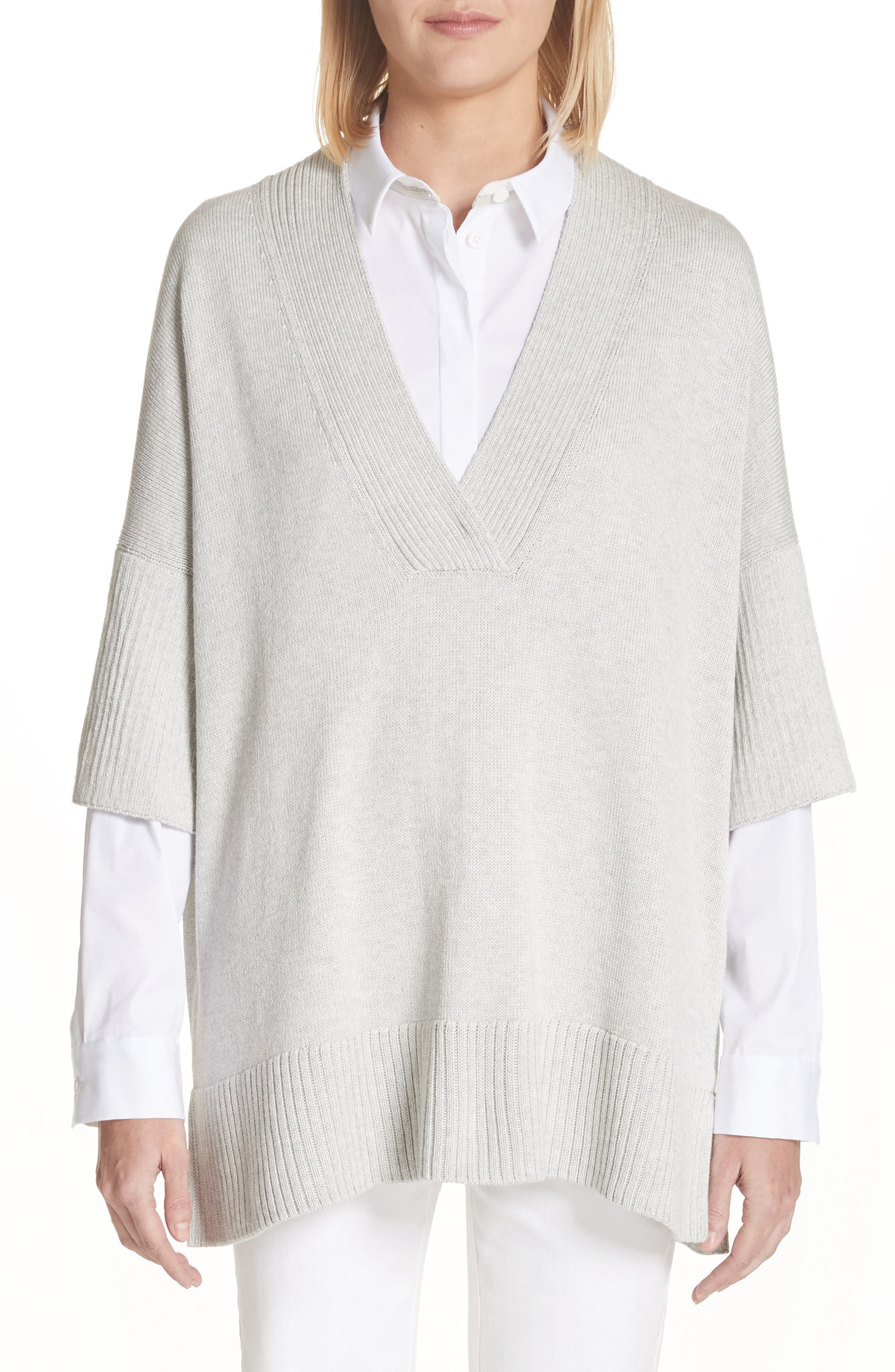 Lafayette 148 New York Relaxed V-Neck Cotton & Silk Sweater