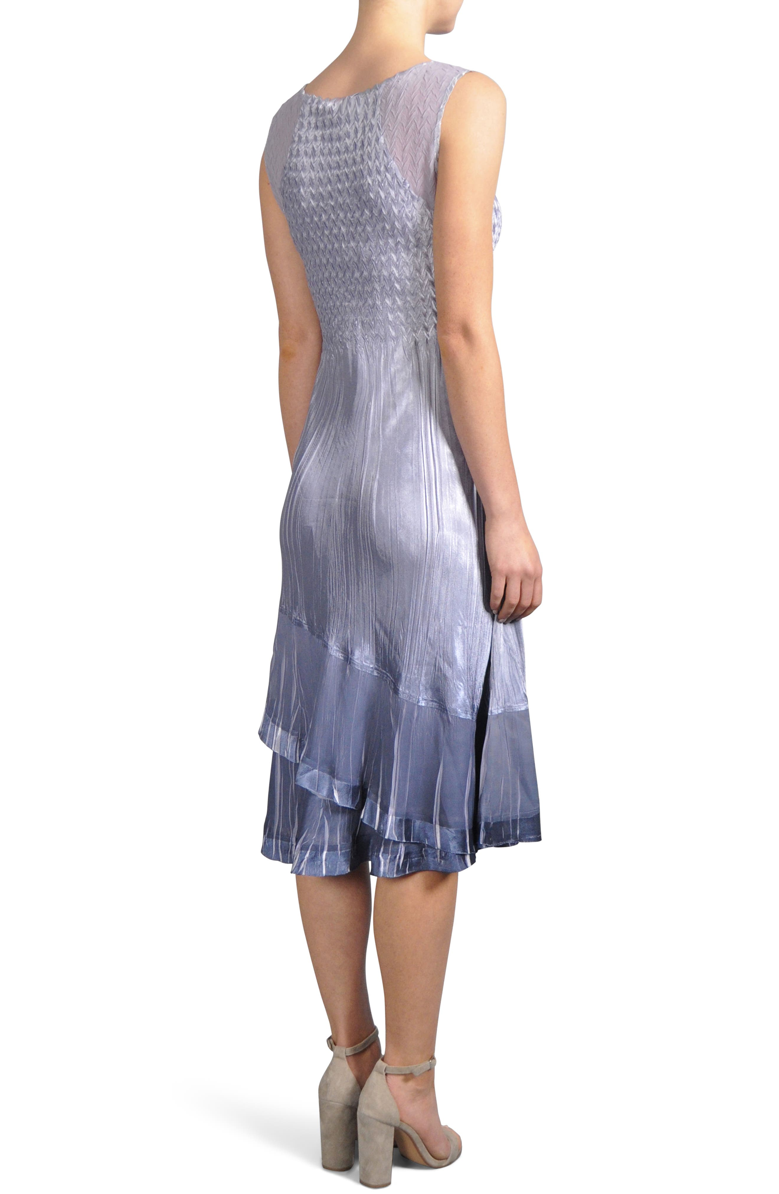 Charmeuse & Chiffon Midi Dress with Jacket,                             Alternate thumbnail 4, color,                             Lavendar Grey Blue Ombre