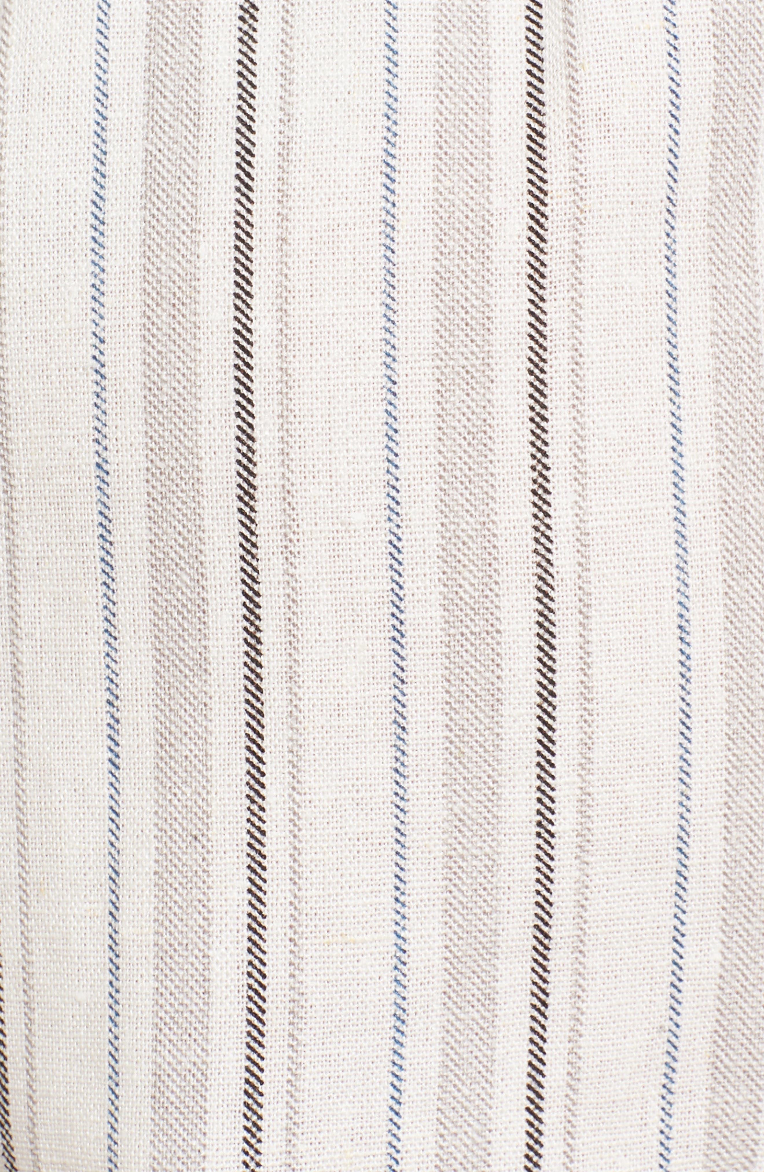 Side Tie Stripe Skort,                             Alternate thumbnail 5, color,                             Natural/ Black Linen Stripe