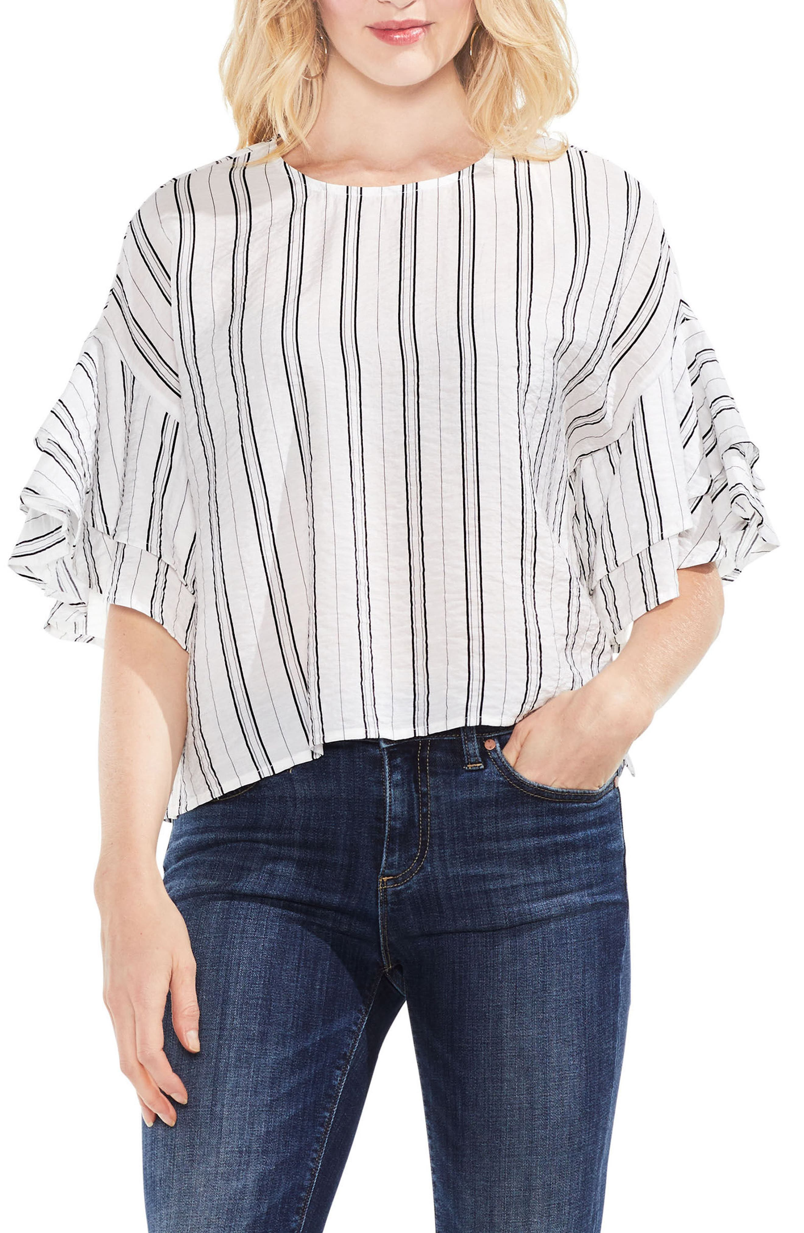 Tiered Ruffle Sleeve Stripe Blouse,                             Main thumbnail 1, color,                             New Ivory