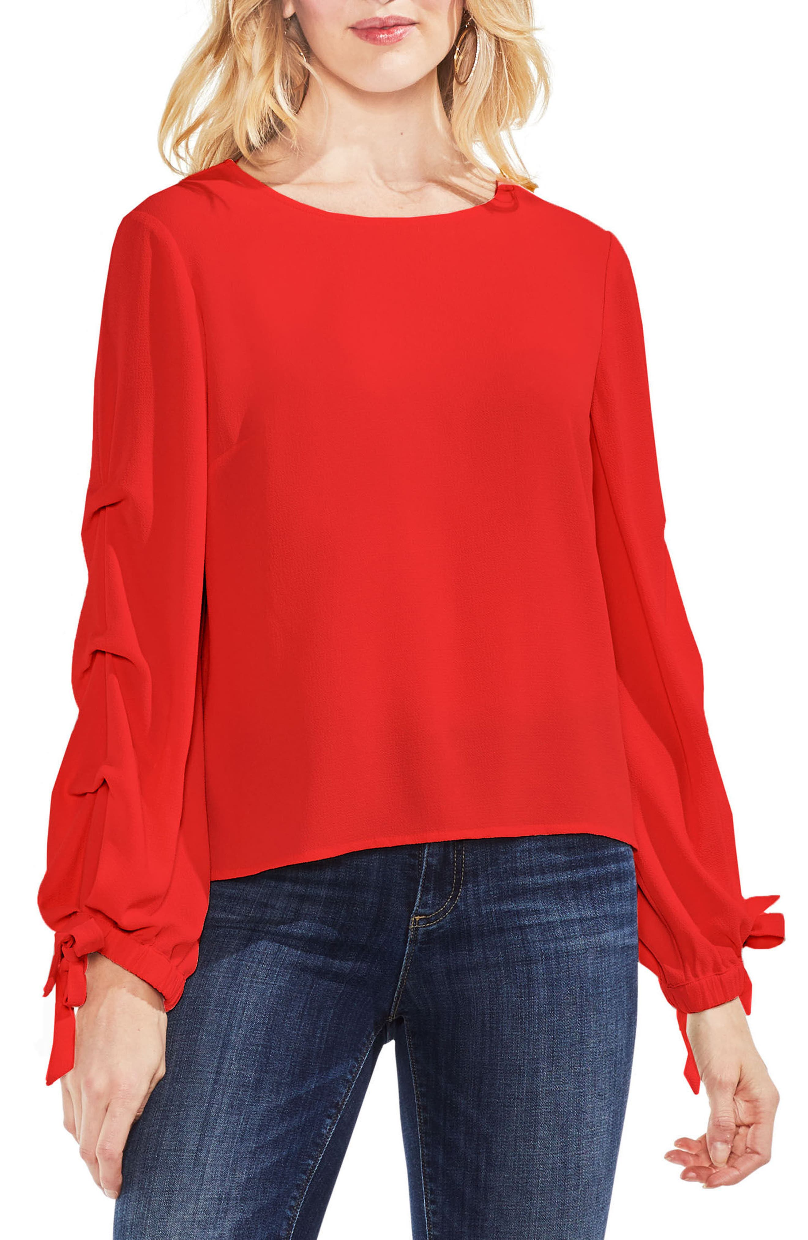 Alternate Image 1 Selected - Vince Camuto Tiered Tie Cuff Crepe Blouse