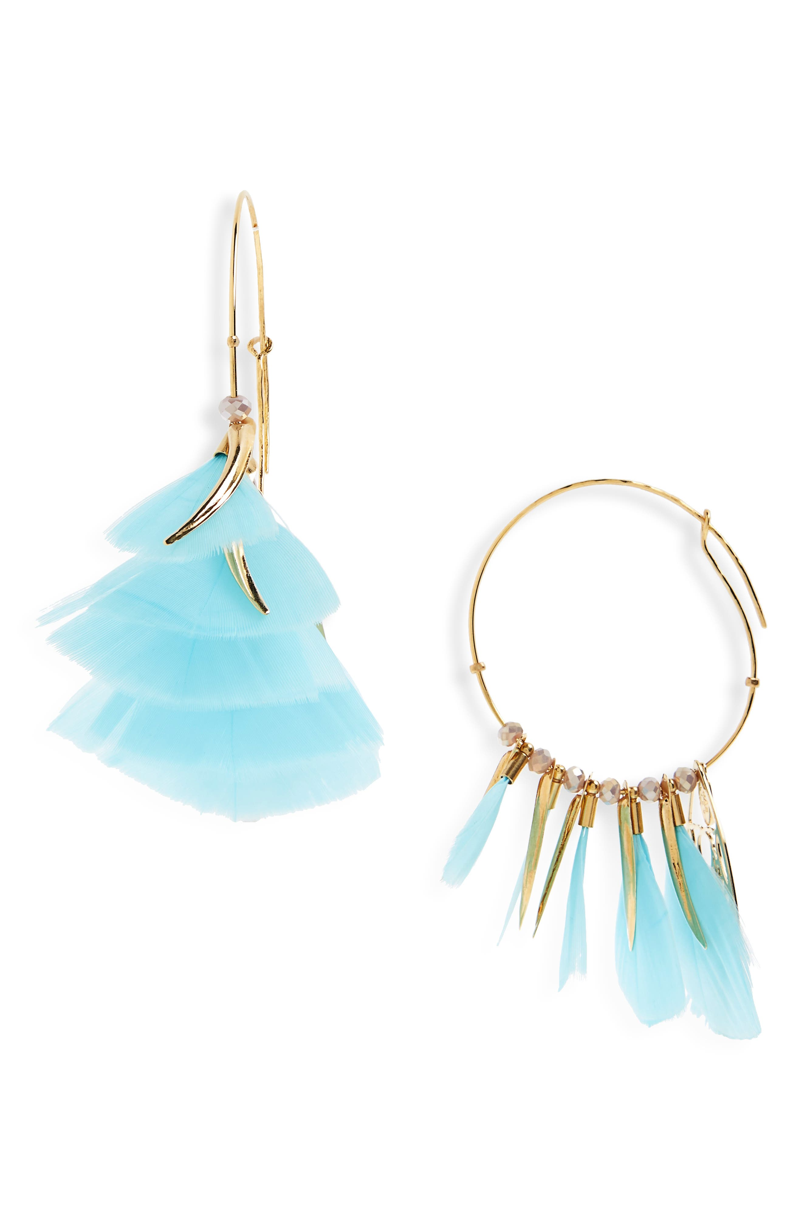 Marly Feather Drop Earrings,                         Main,                         color, Green Turquoise