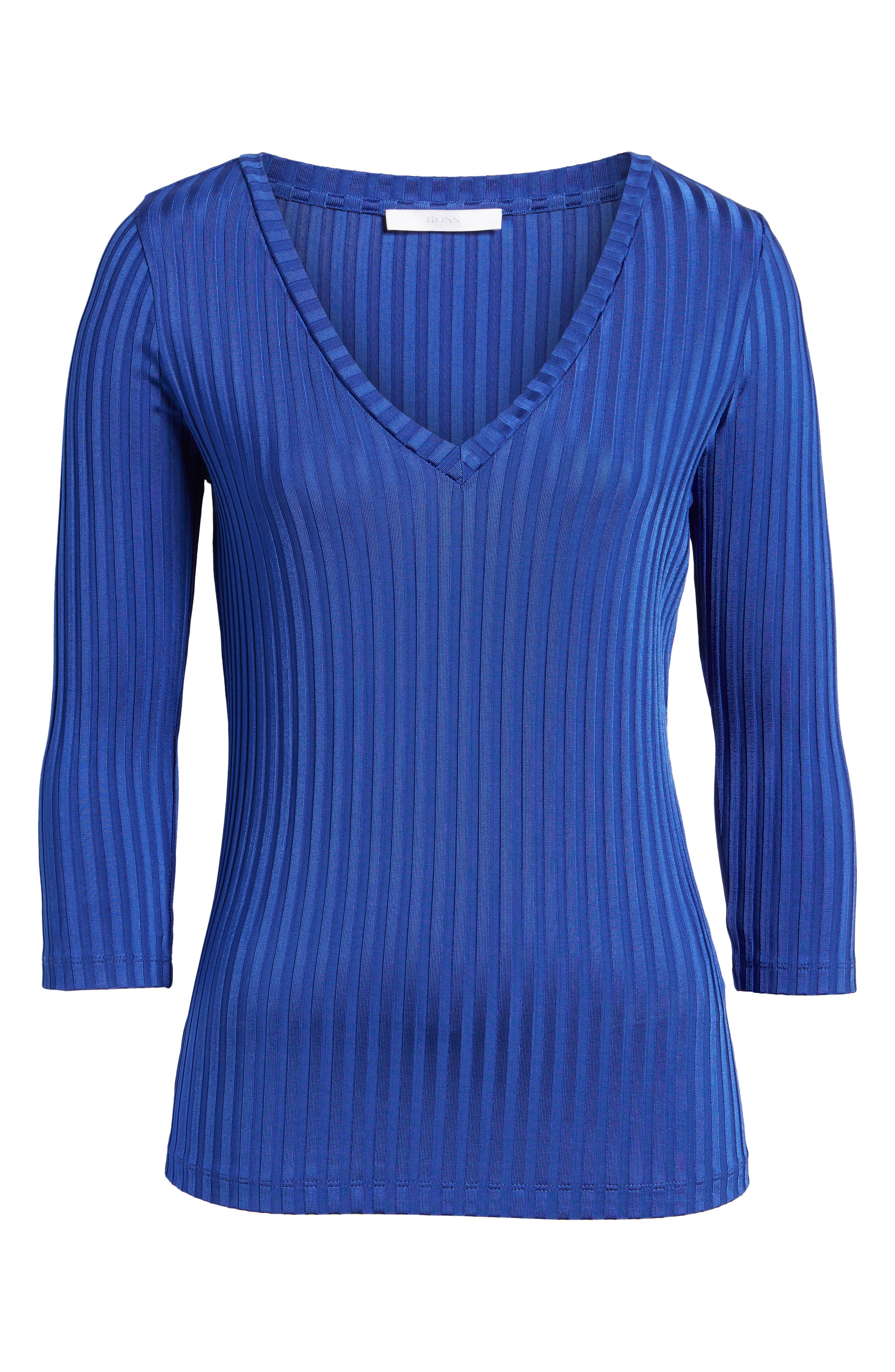 Etrica V-Neck Ribbed Top,                             Alternate thumbnail 6, color,                             Sailor Blue