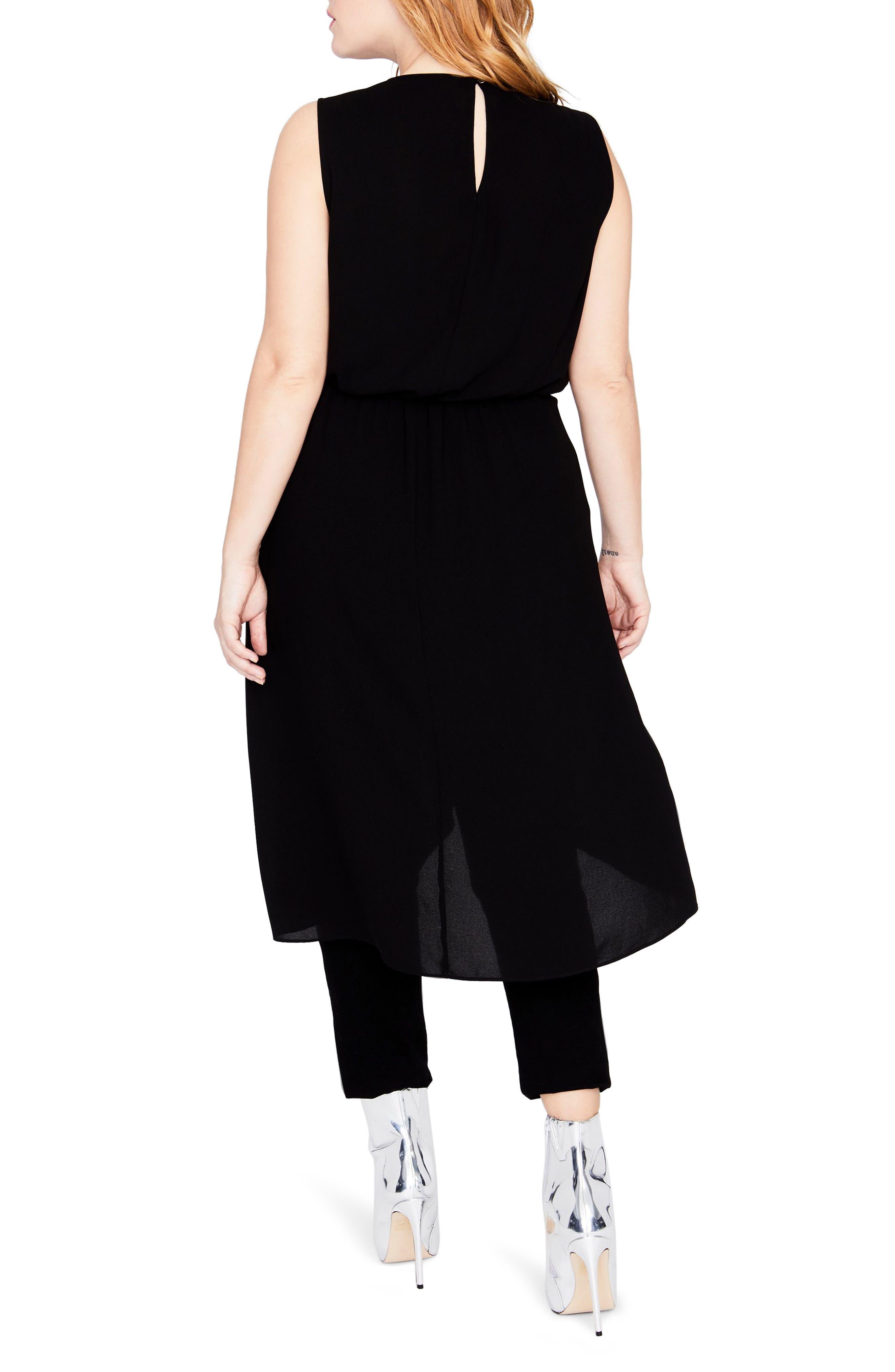 Sleeveless Cascade Tunic Dress,                             Alternate thumbnail 2, color,                             Black