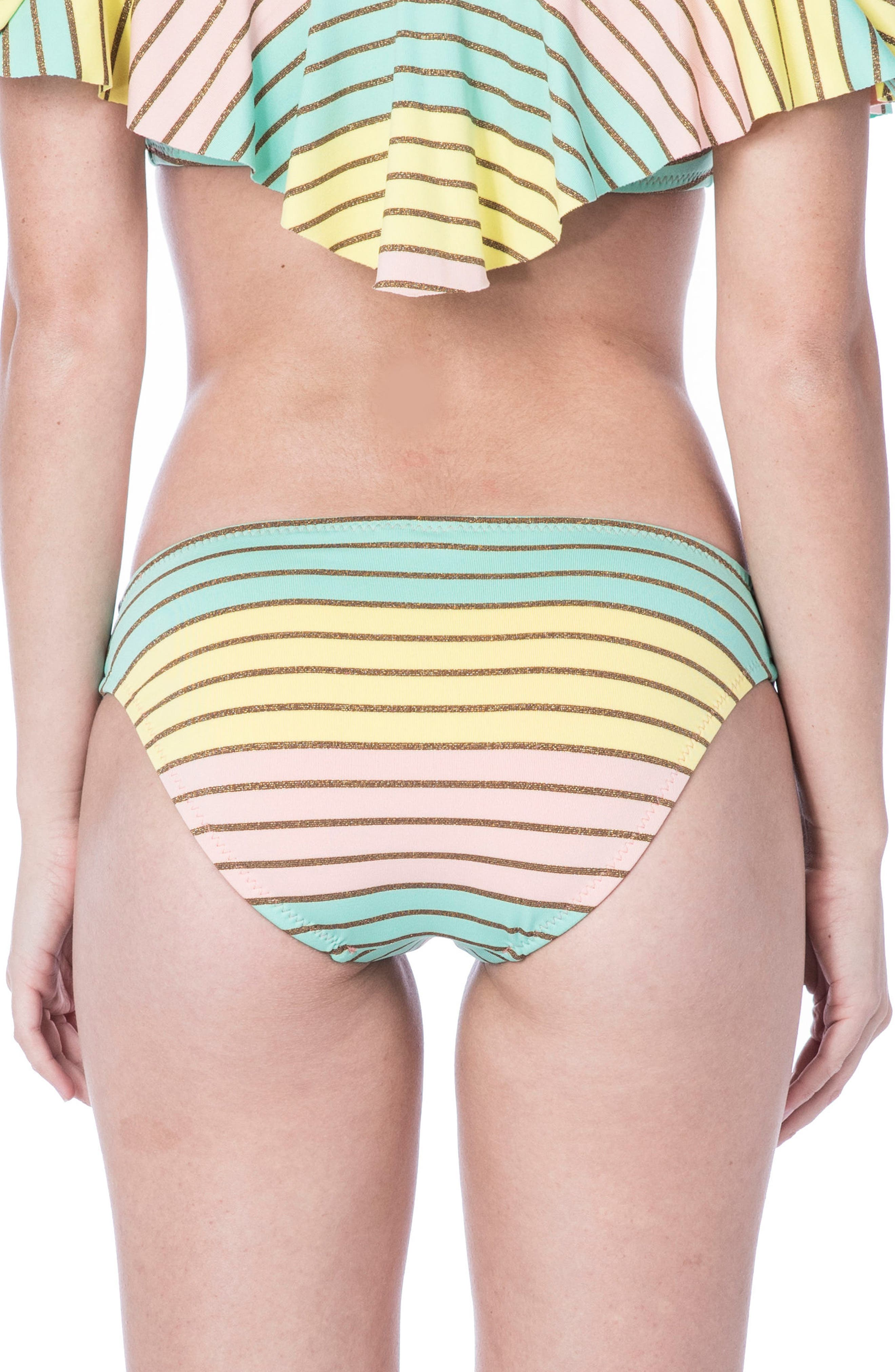 Metallic Stripe Hipster Bikini Bottom,                             Alternate thumbnail 2, color,                             Multi-Colored