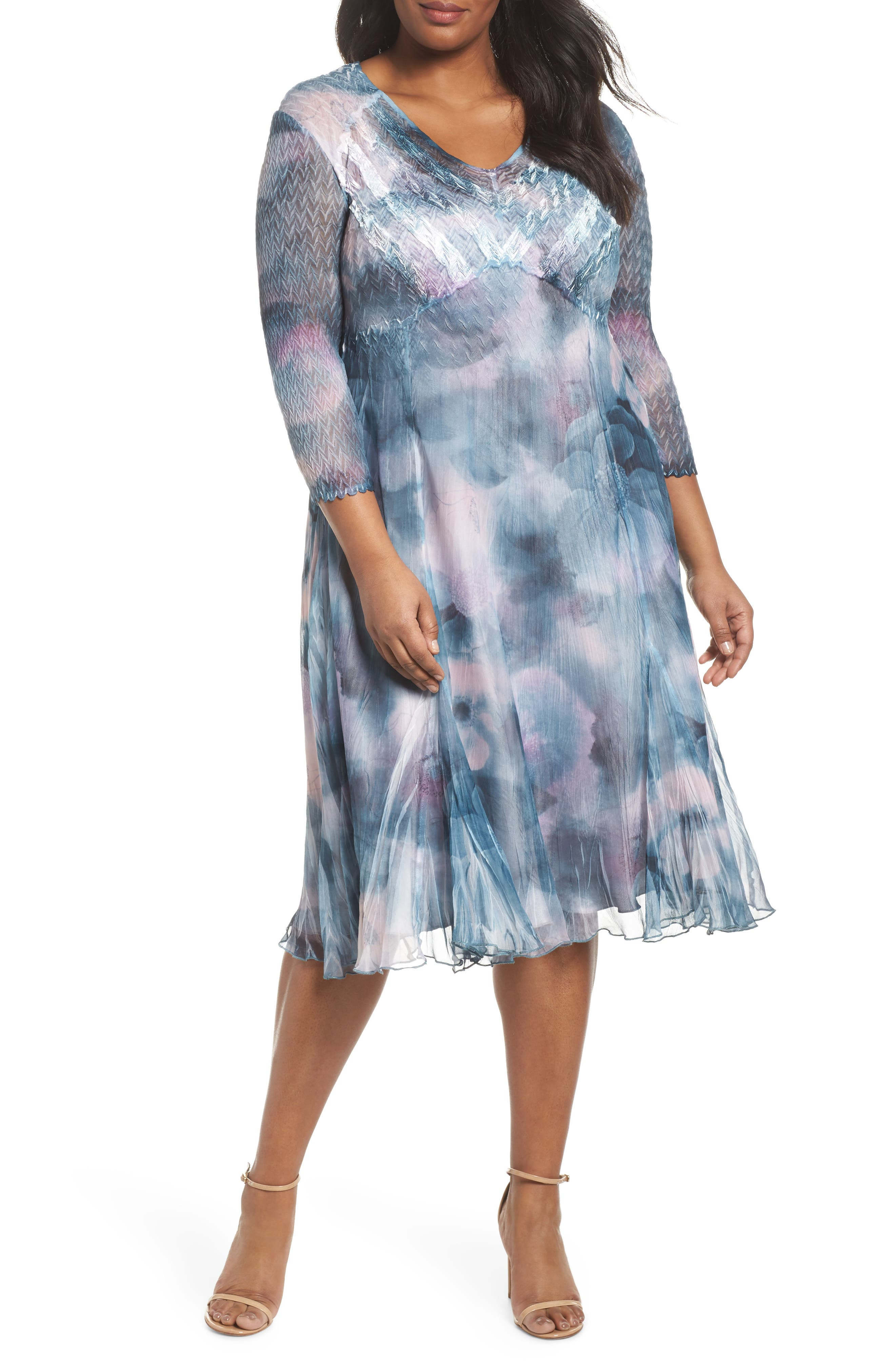 Floral Charmeuse & Chiffon A-Line Dress,                             Main thumbnail 1, color,                             Everglade Sky