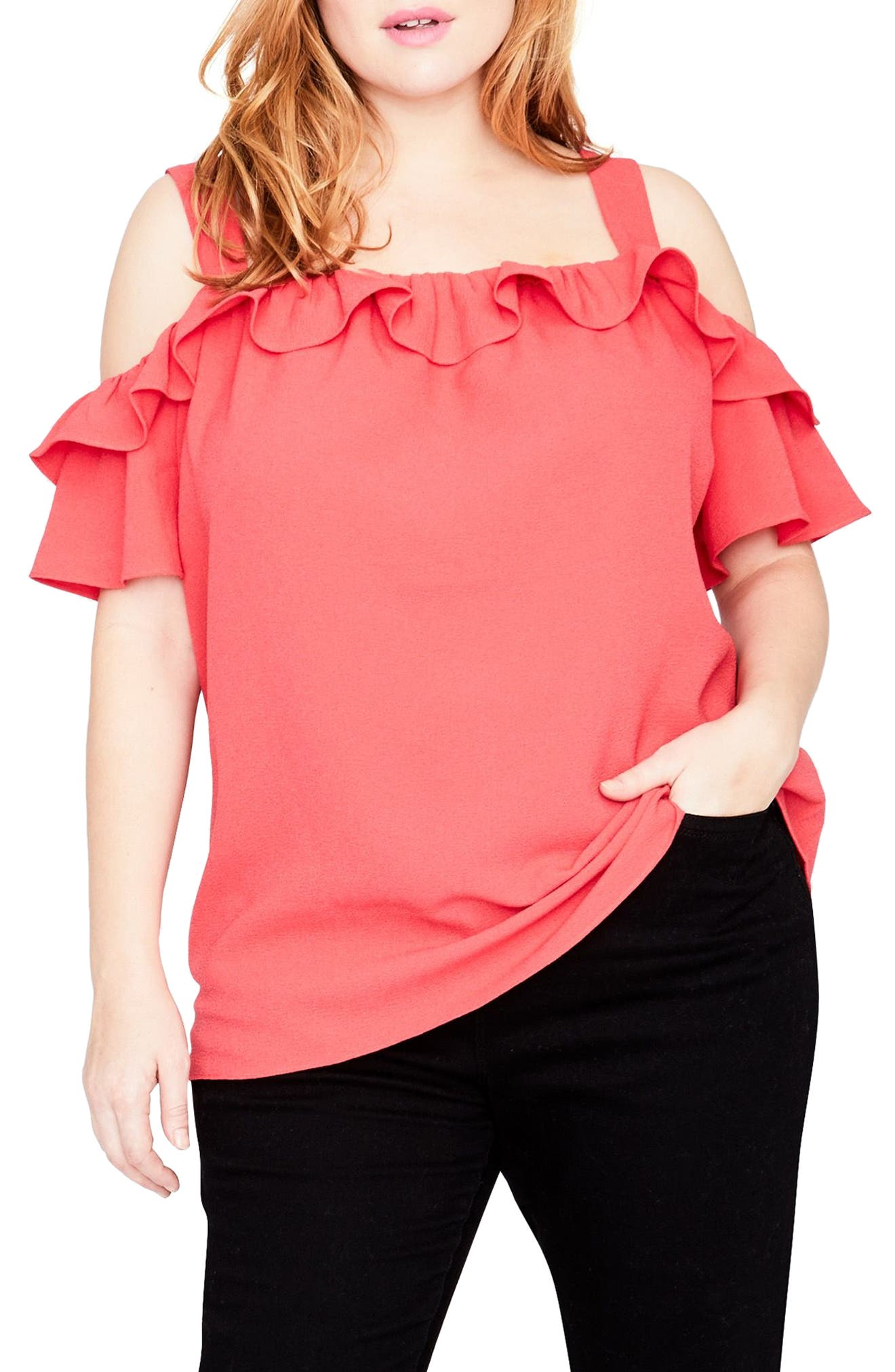 Main Image - RACHEL Rachel Roy Ruffle Edge Top (Plus Size)