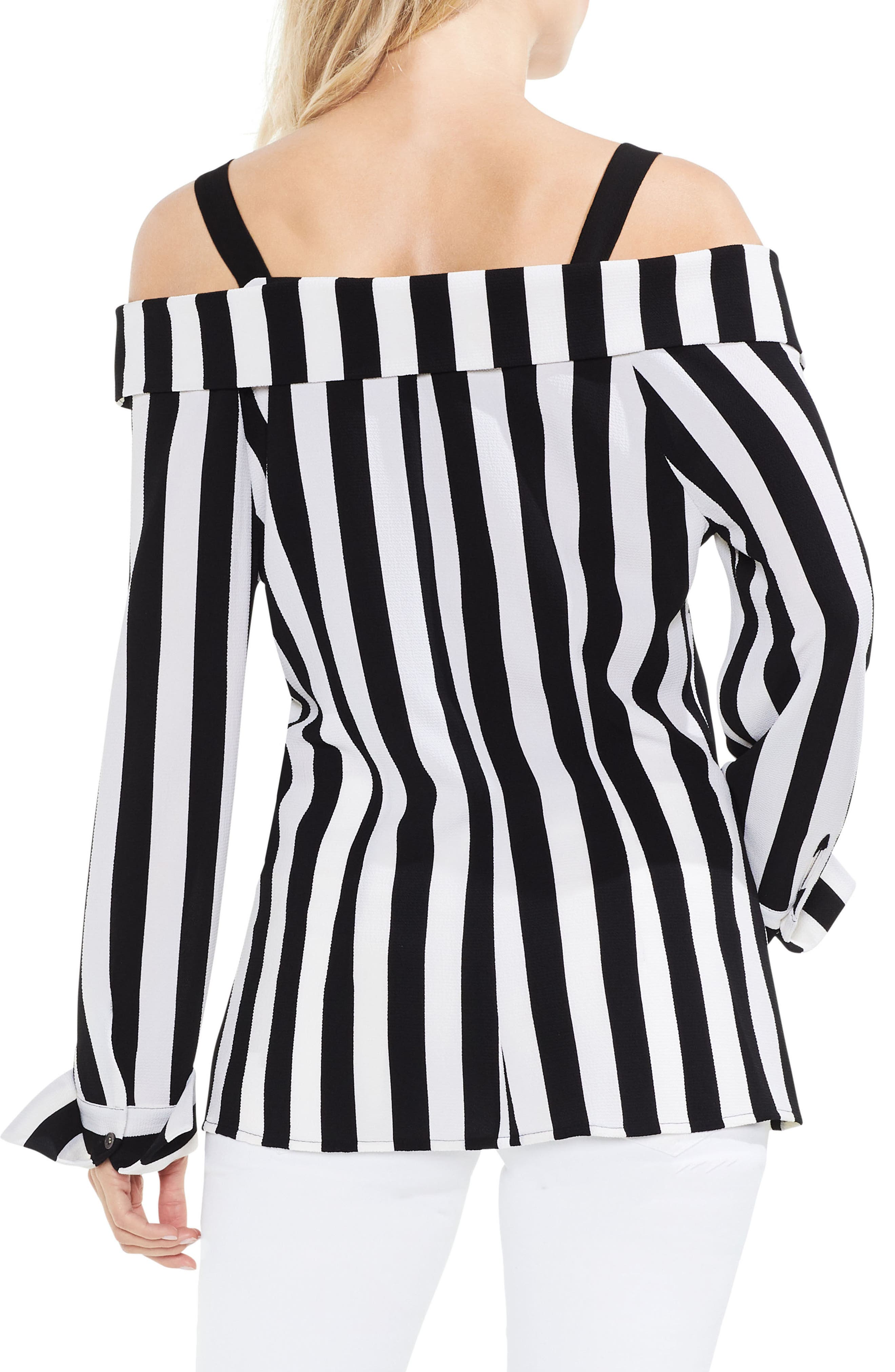 Spectator Stripe Off the Shoulder Blouse,                             Alternate thumbnail 2, color,                             Rich Black