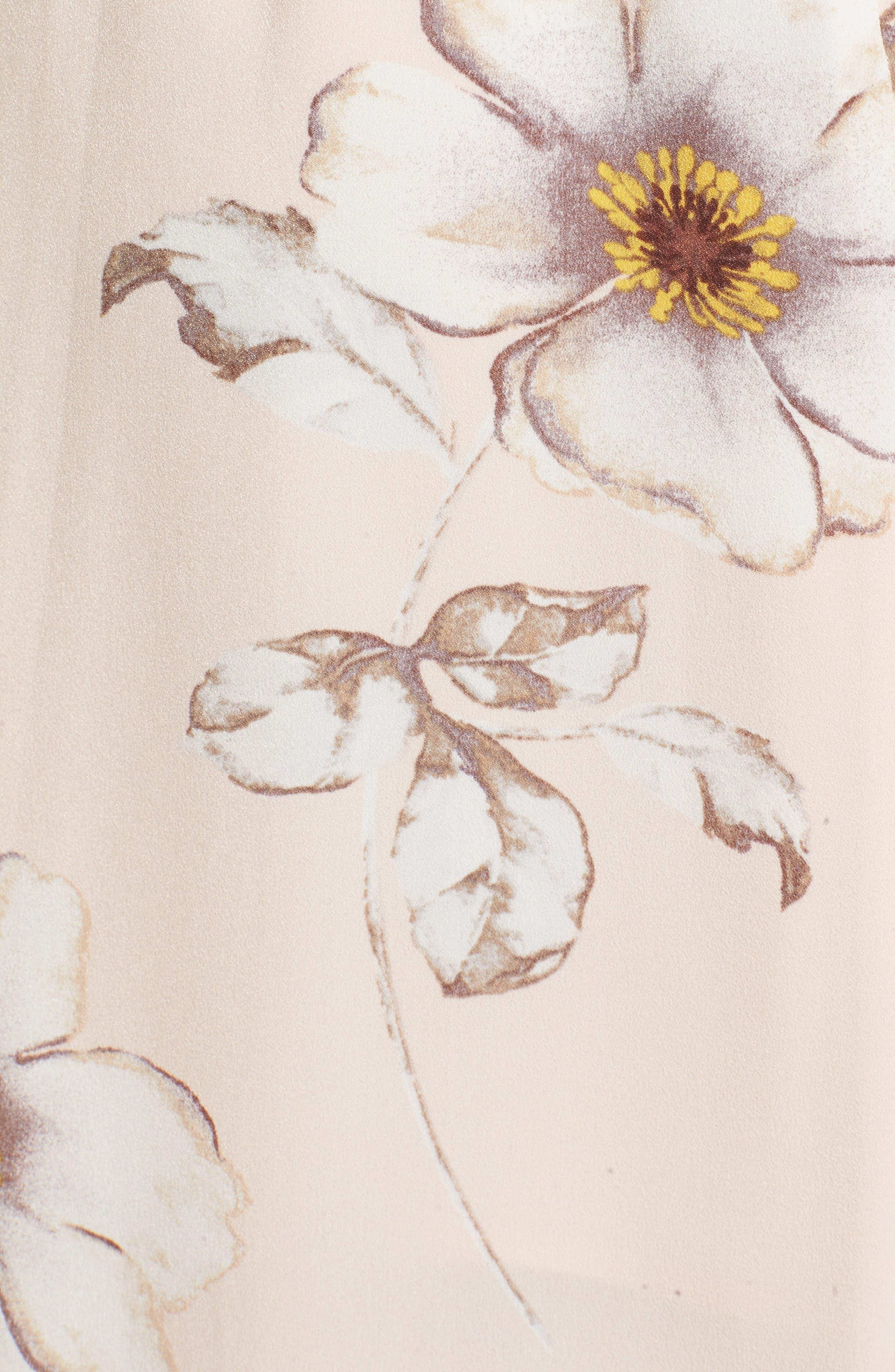 Faux Wrap Midi Dress,                             Alternate thumbnail 6, color,                             Blush Floral