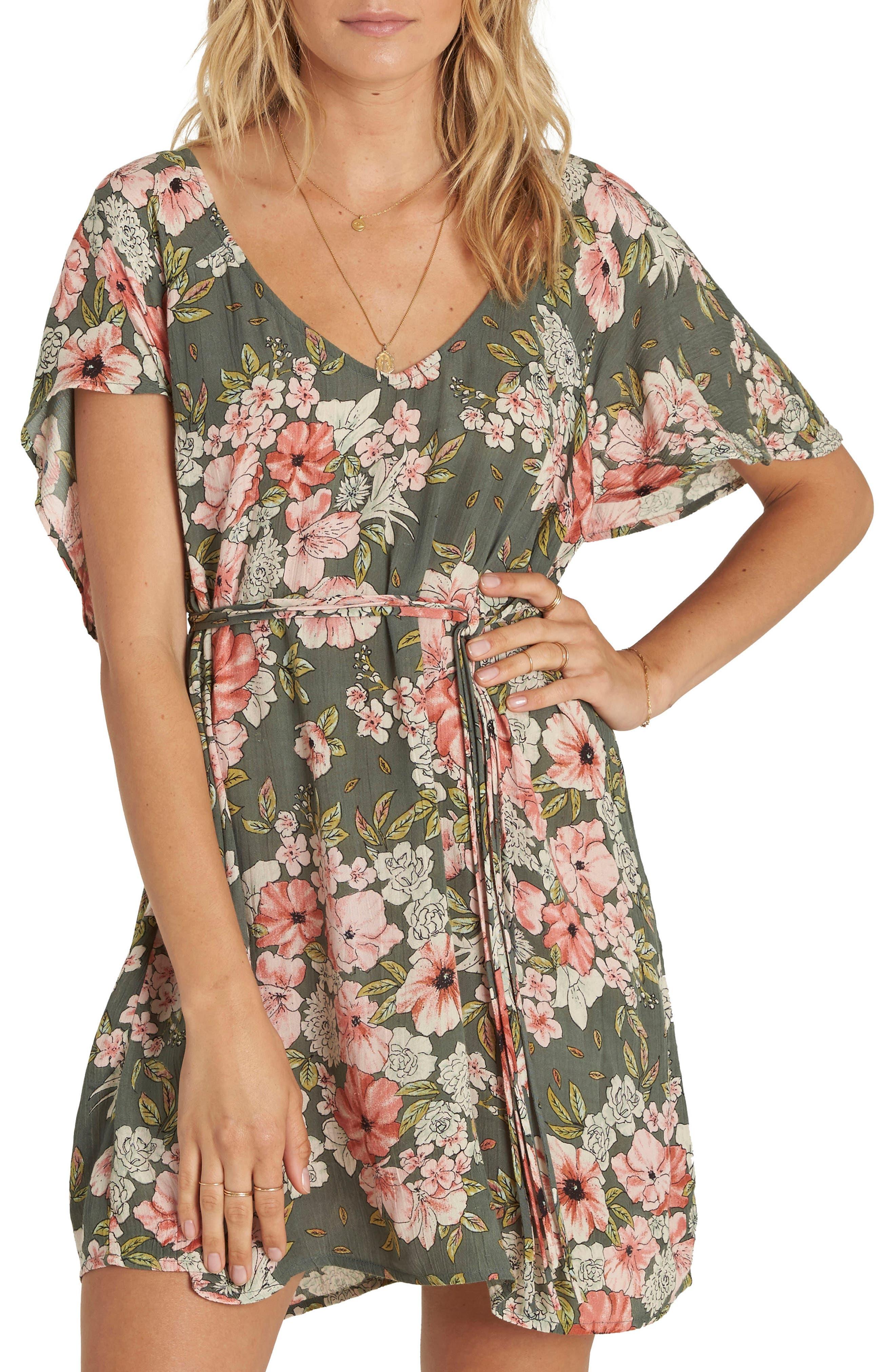 Fine Flutter Floral Print Dress,                         Main,                         color, Clover