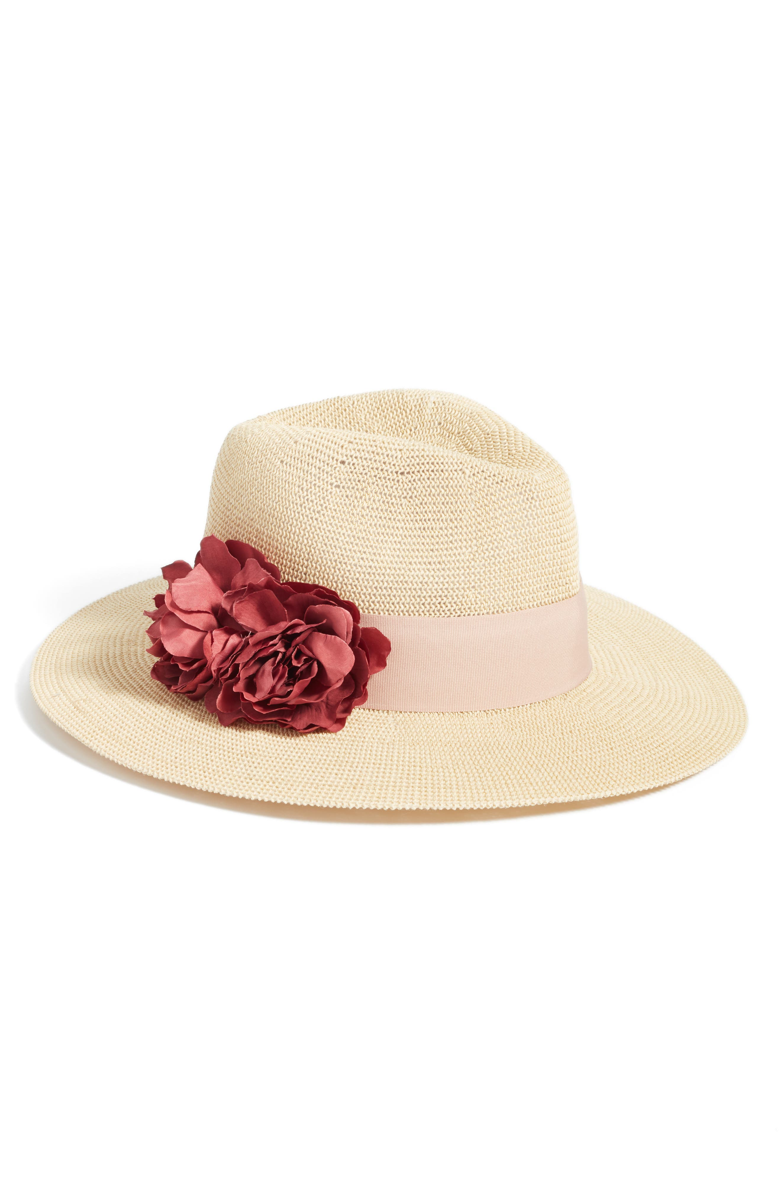 Floral Trim Straw Panama Hat,                             Main thumbnail 1, color,                             Natural