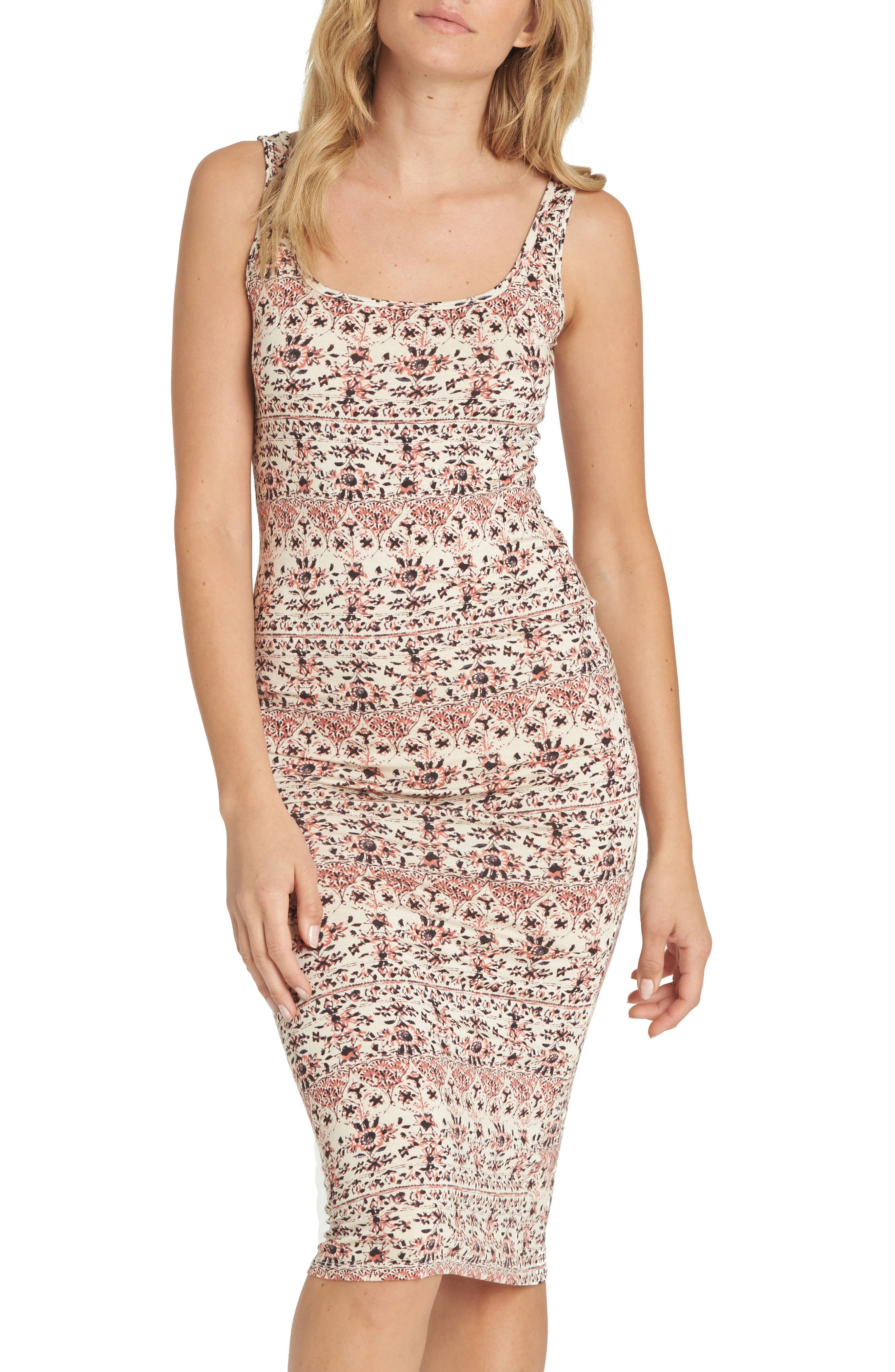 Share More Joy Print Body-Con Dress,                         Main,                         color, Ivory