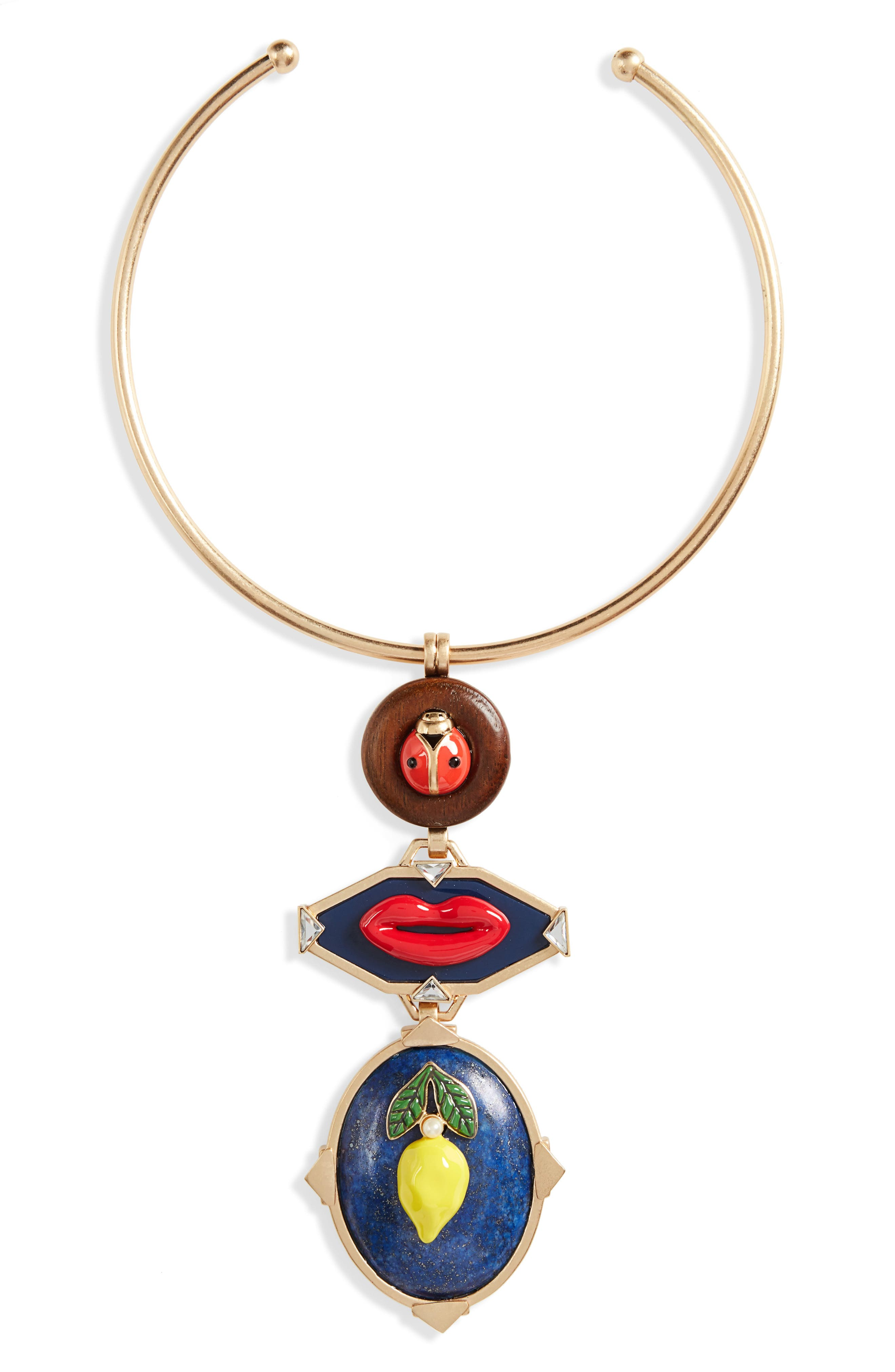 Tory Burch Crazy Charms Statement Collar Necklace