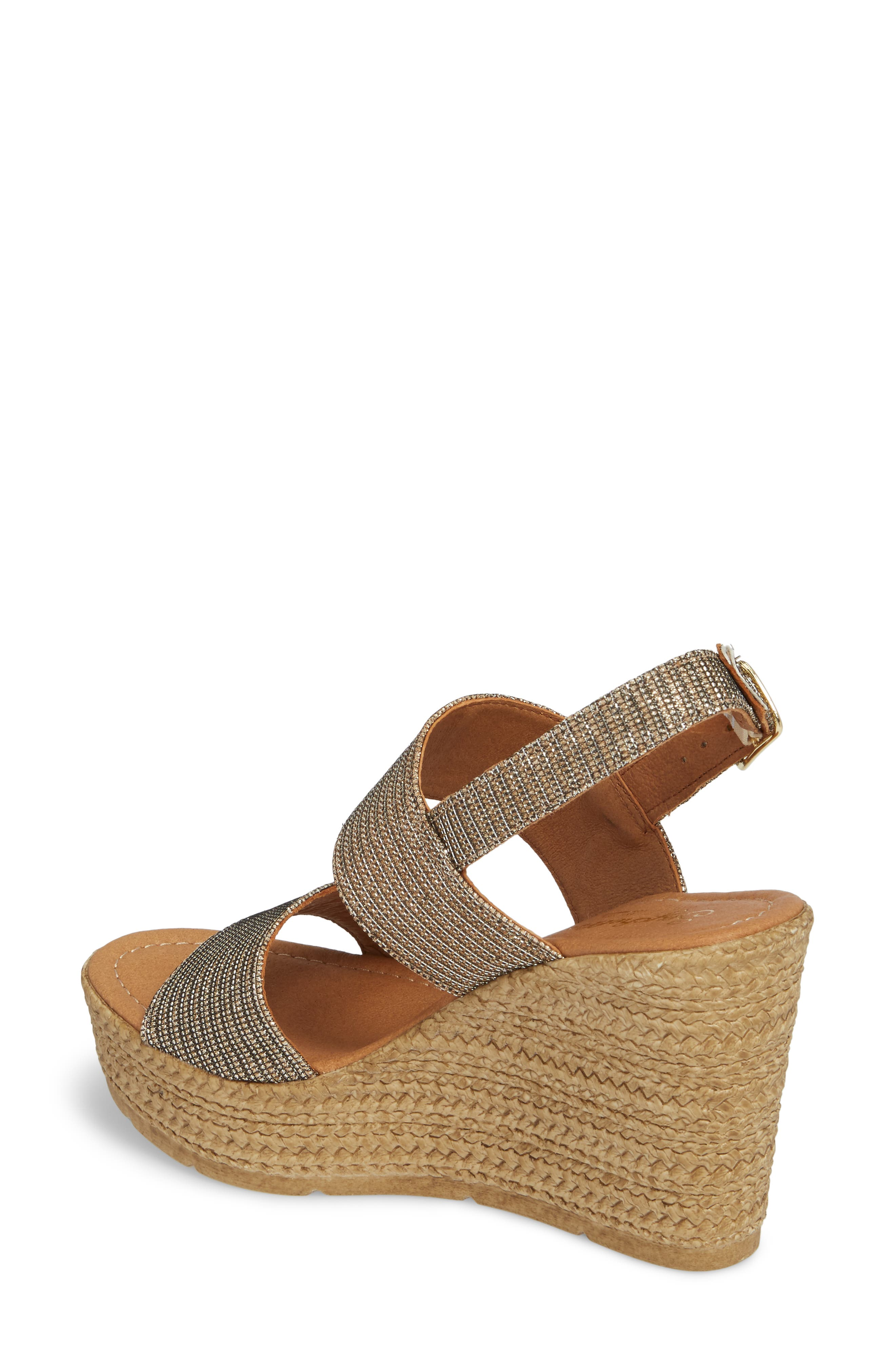 Downtime Wedge Sandal,                             Alternate thumbnail 2, color,                             Bronze Metallic Fabric