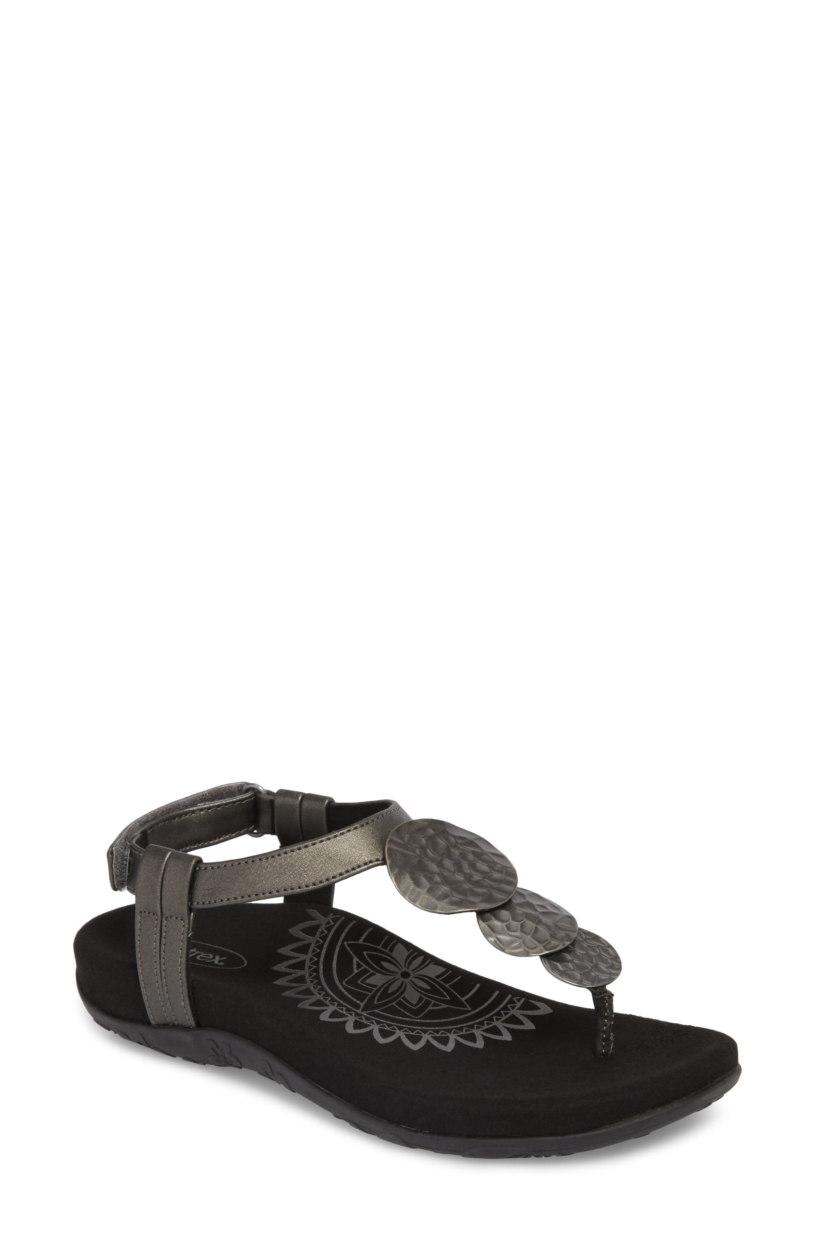 Olive T-Strap Sandal,                             Main thumbnail 1, color,                             Black Leather