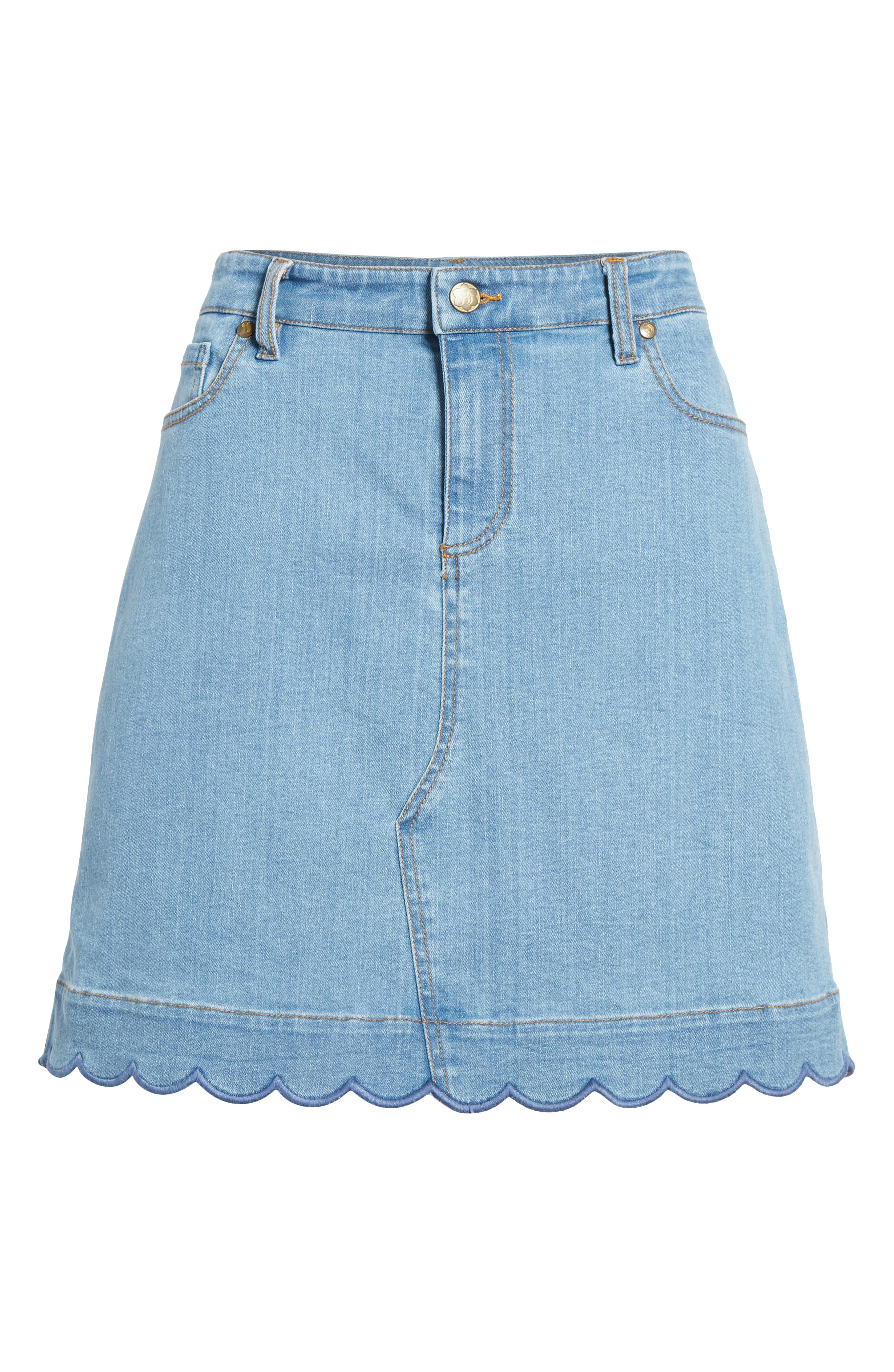 Scallop Denim Skirt,                             Alternate thumbnail 6, color,                             Blue