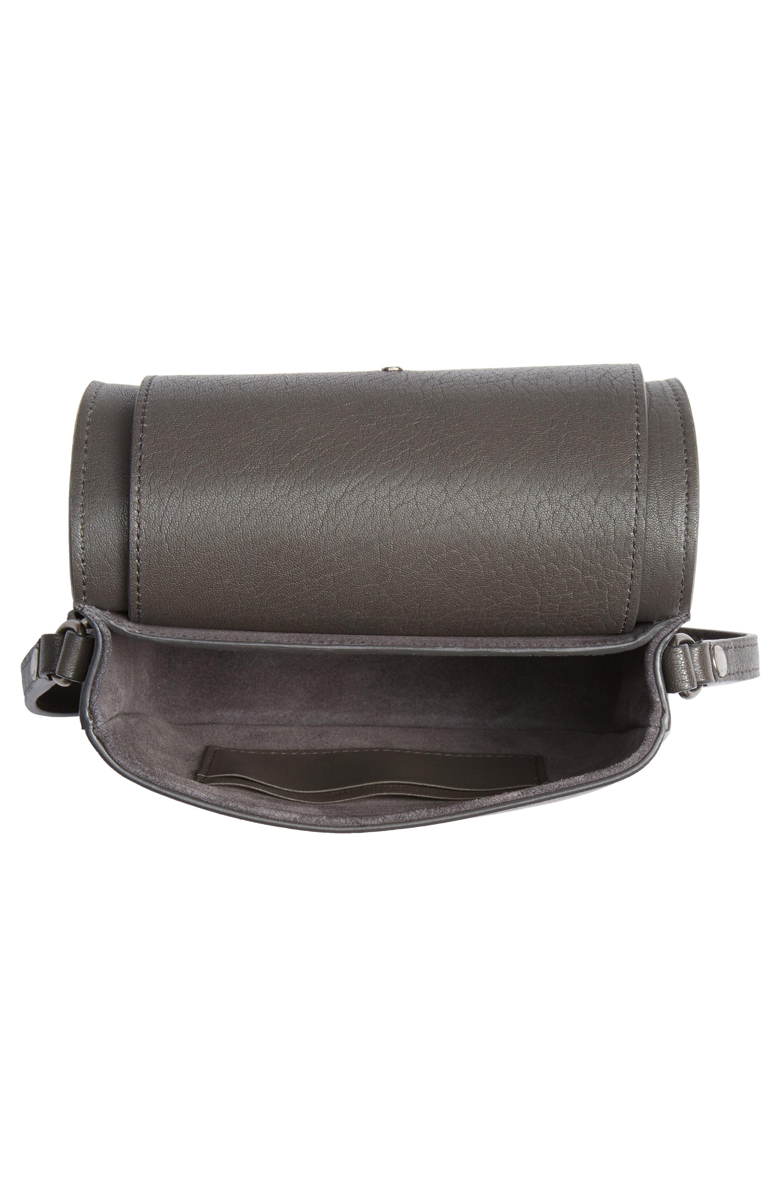 Calfskin Leather Crossbody Bag,                             Alternate thumbnail 3, color,                             Asphalt