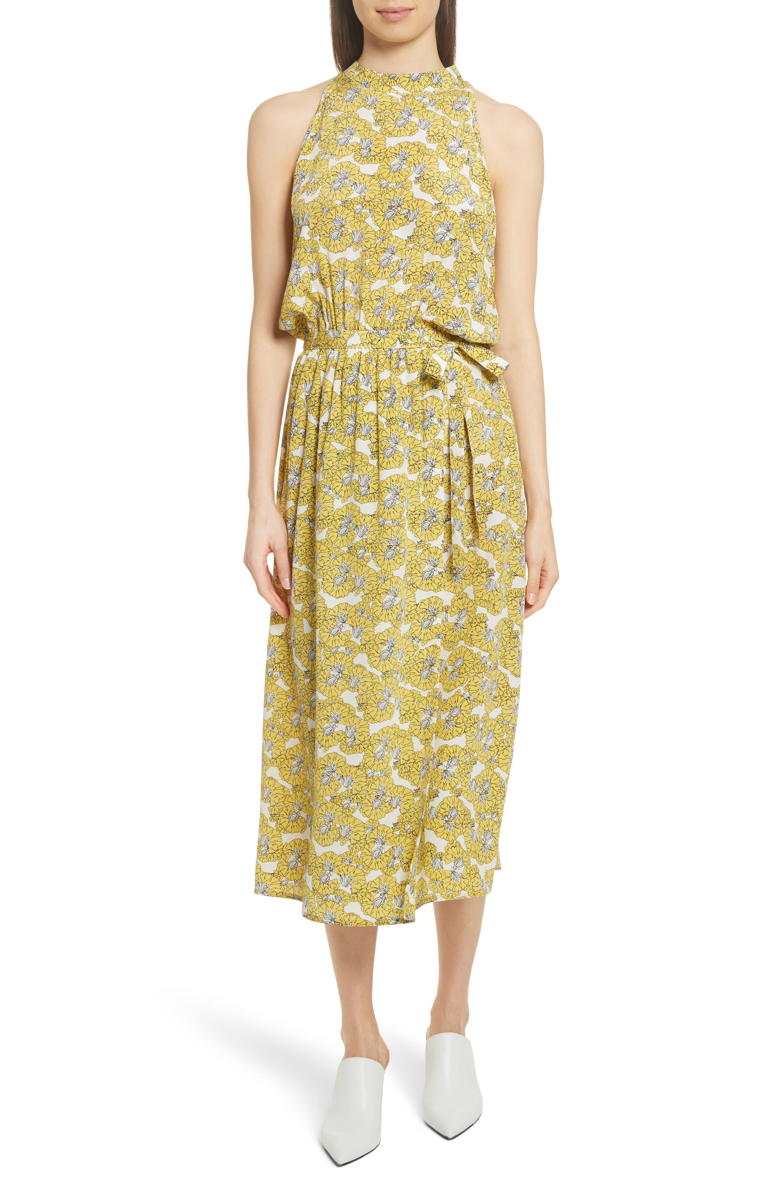 Dania Floral Print Dress,                         Main,                         color, Yellow Floral