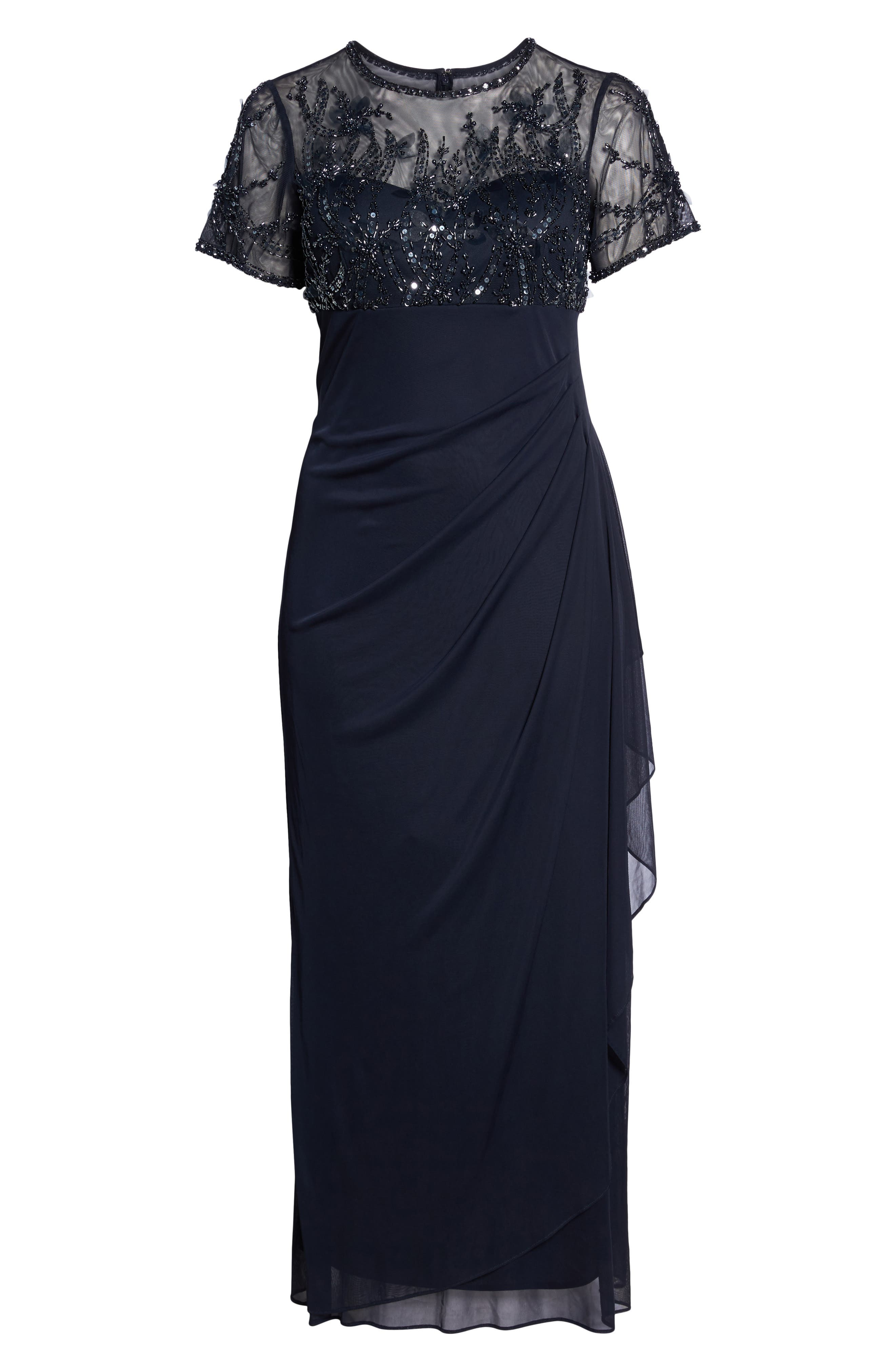 Ruched Beaded Gown,                             Alternate thumbnail 6, color,                             Navy