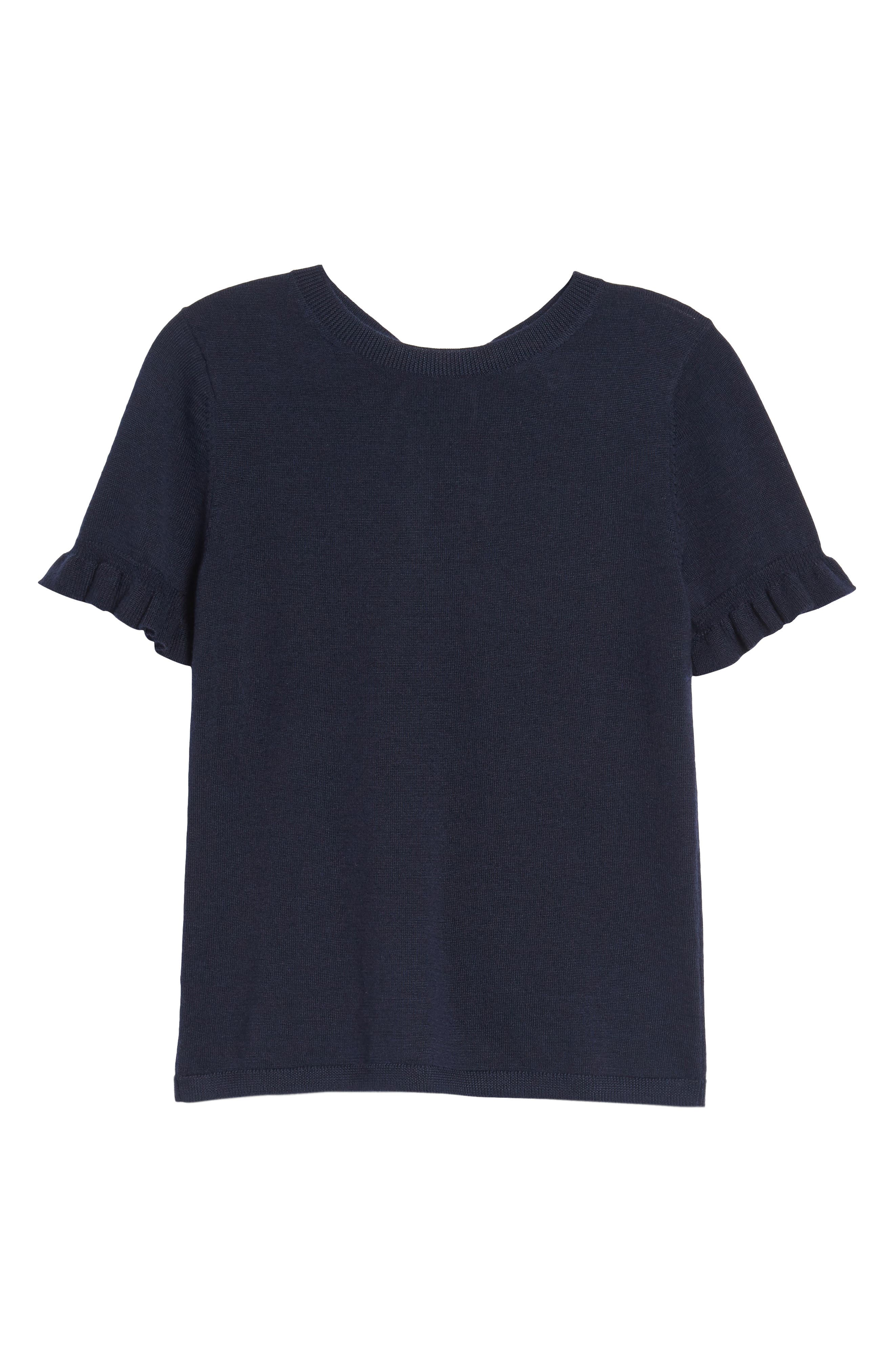 Tie Back Merino Wool & Silk Sweater,                             Alternate thumbnail 6, color,                             Navy Night