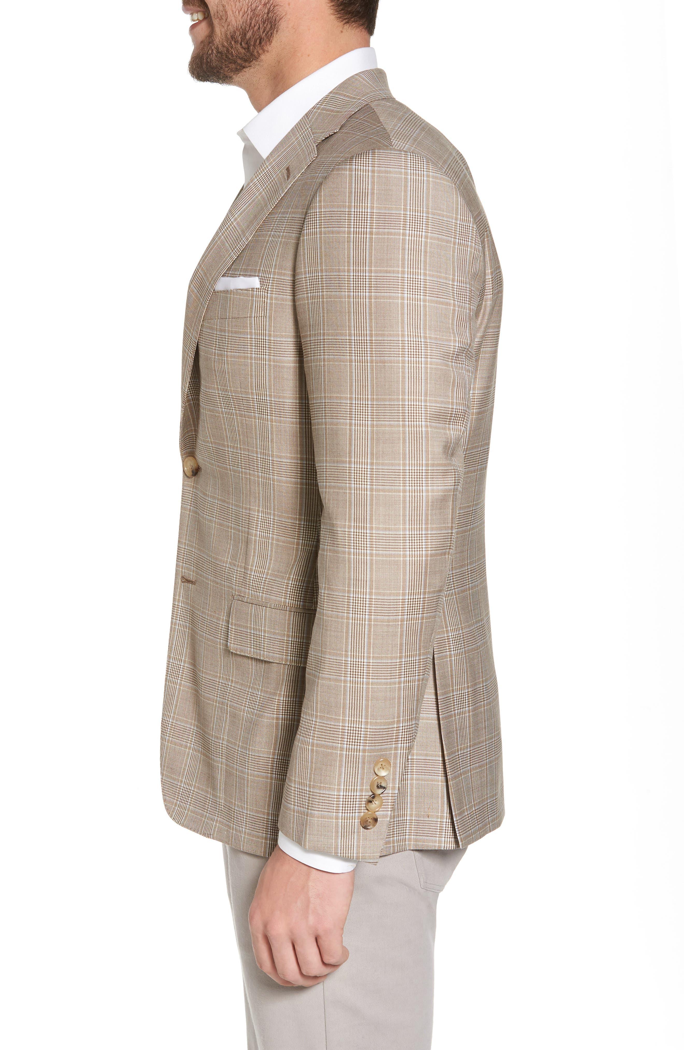 Classic B Fit Plaid Wool Sport Coat,                             Alternate thumbnail 3, color,                             Beige