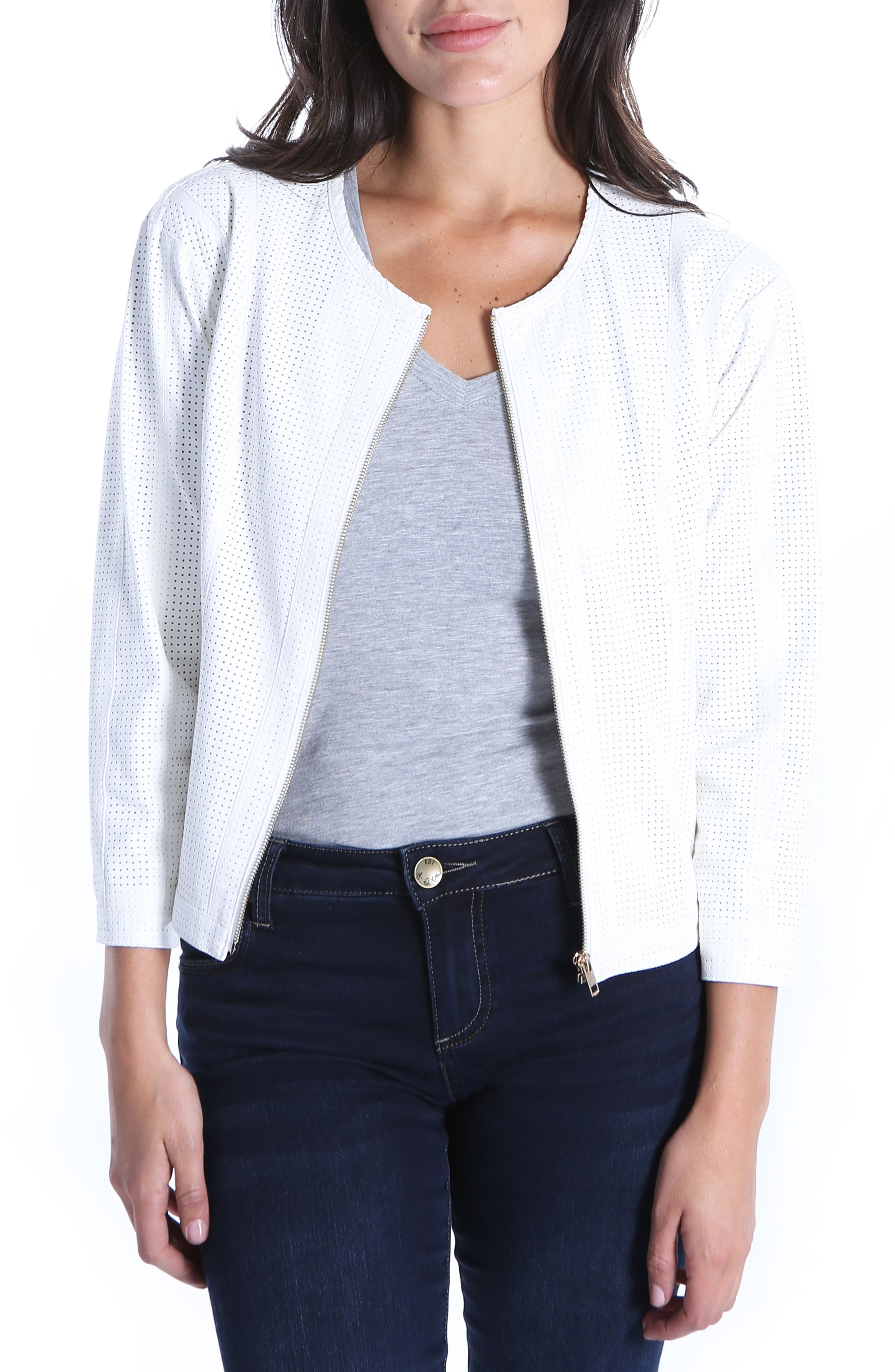 KUT from the Kloth Faux Leather Perforated Scoop Neck Jacket