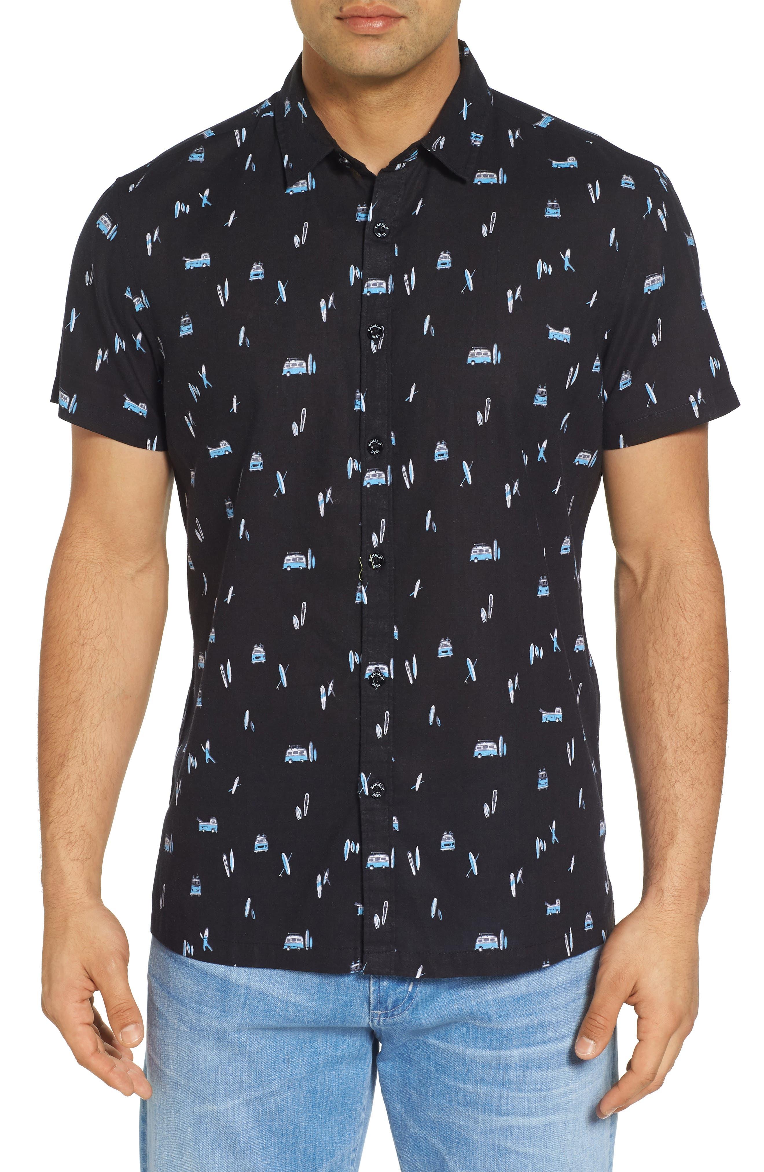 Surf Bus Trim Fit Print Sport Shirt,                             Main thumbnail 1, color,                             Black