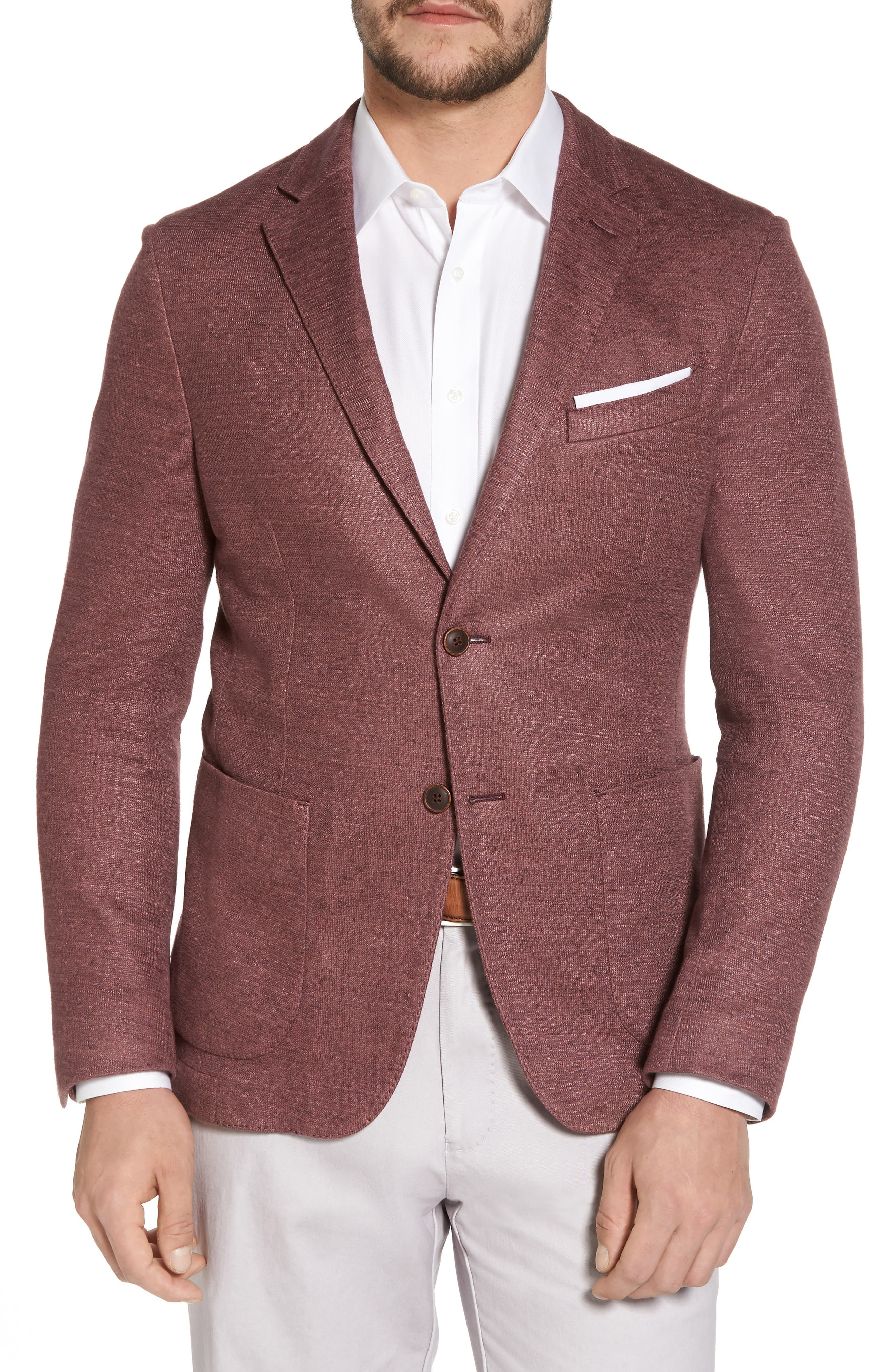 Trim Fit Heathered Jersey Blazer,                         Main,                         color, Wine