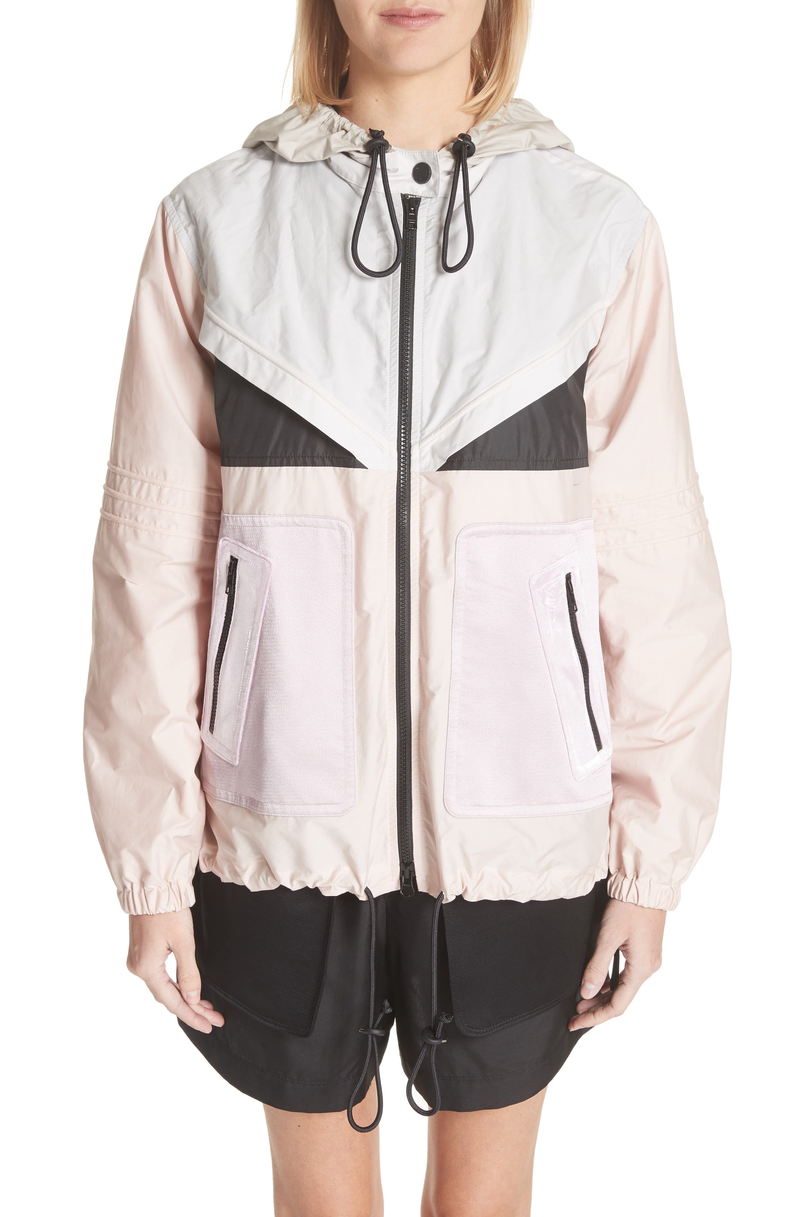 Valentino Mixed Media Colorblock Parka