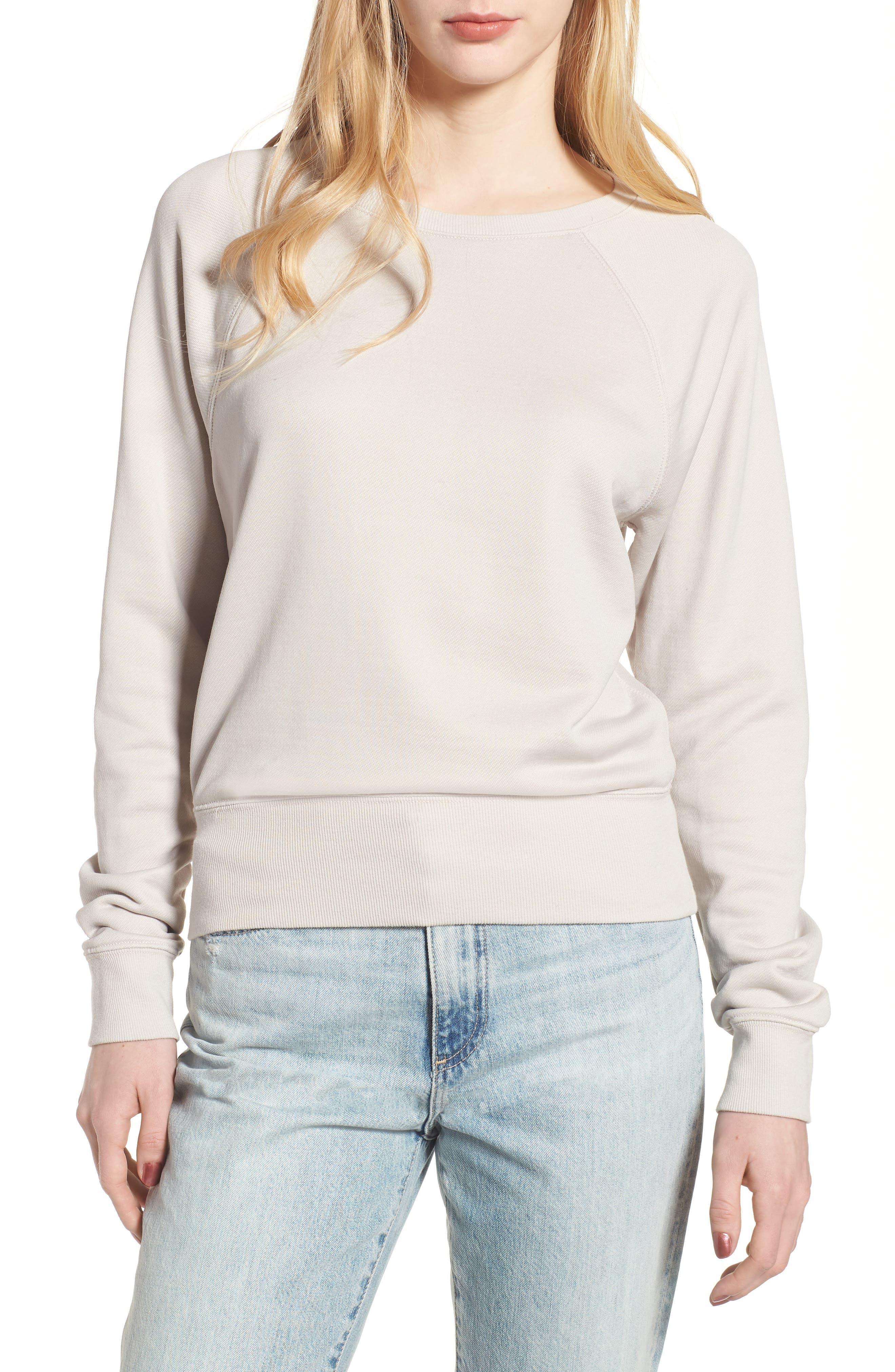 Shrunken Fleece Sweatshirt,                         Main,                         color, Silver