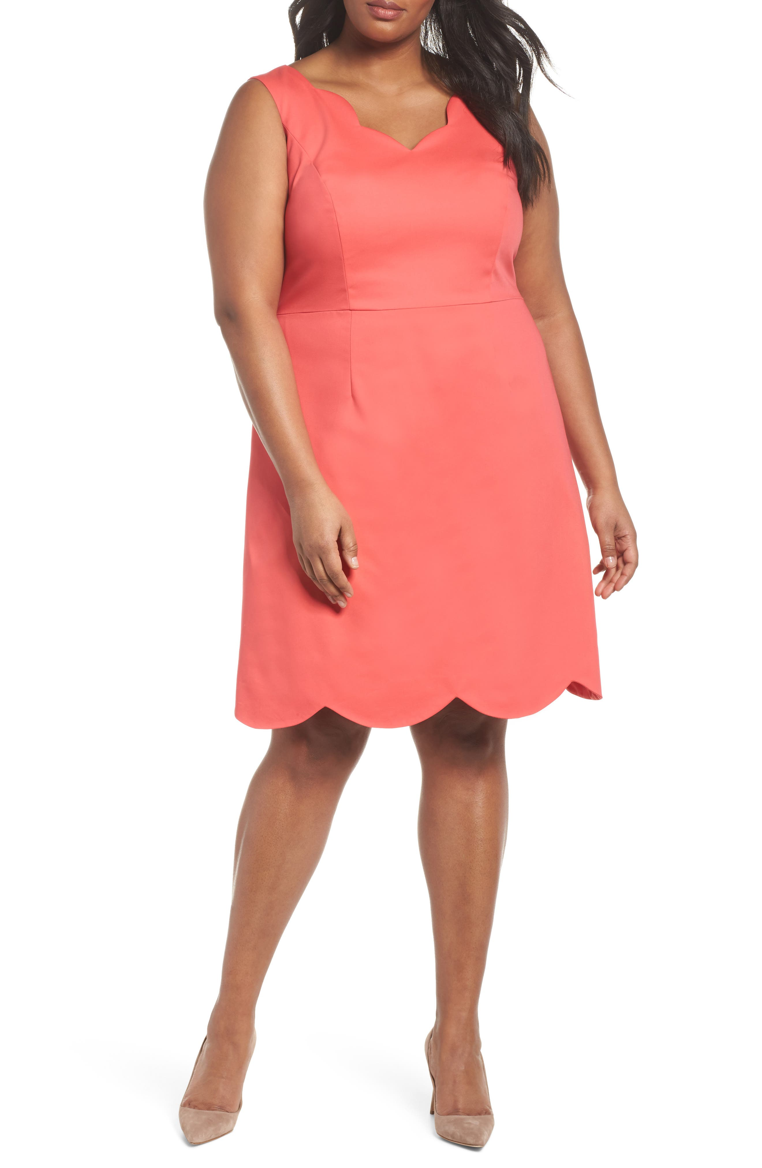 Scalloped A-Line Dress,                             Main thumbnail 1, color,                             Strawberry Pink