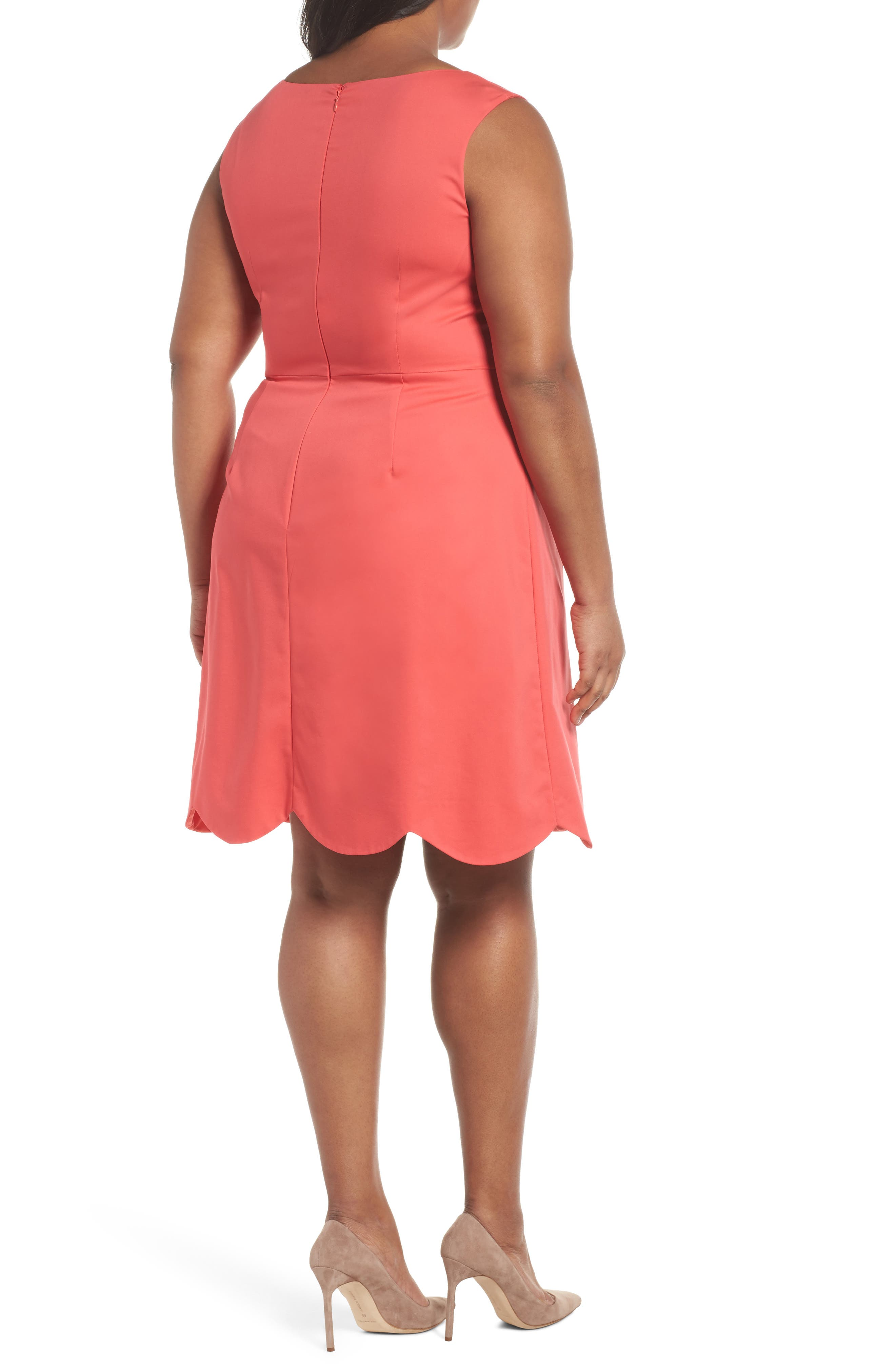 Scalloped A-Line Dress,                             Alternate thumbnail 2, color,                             Strawberry Pink