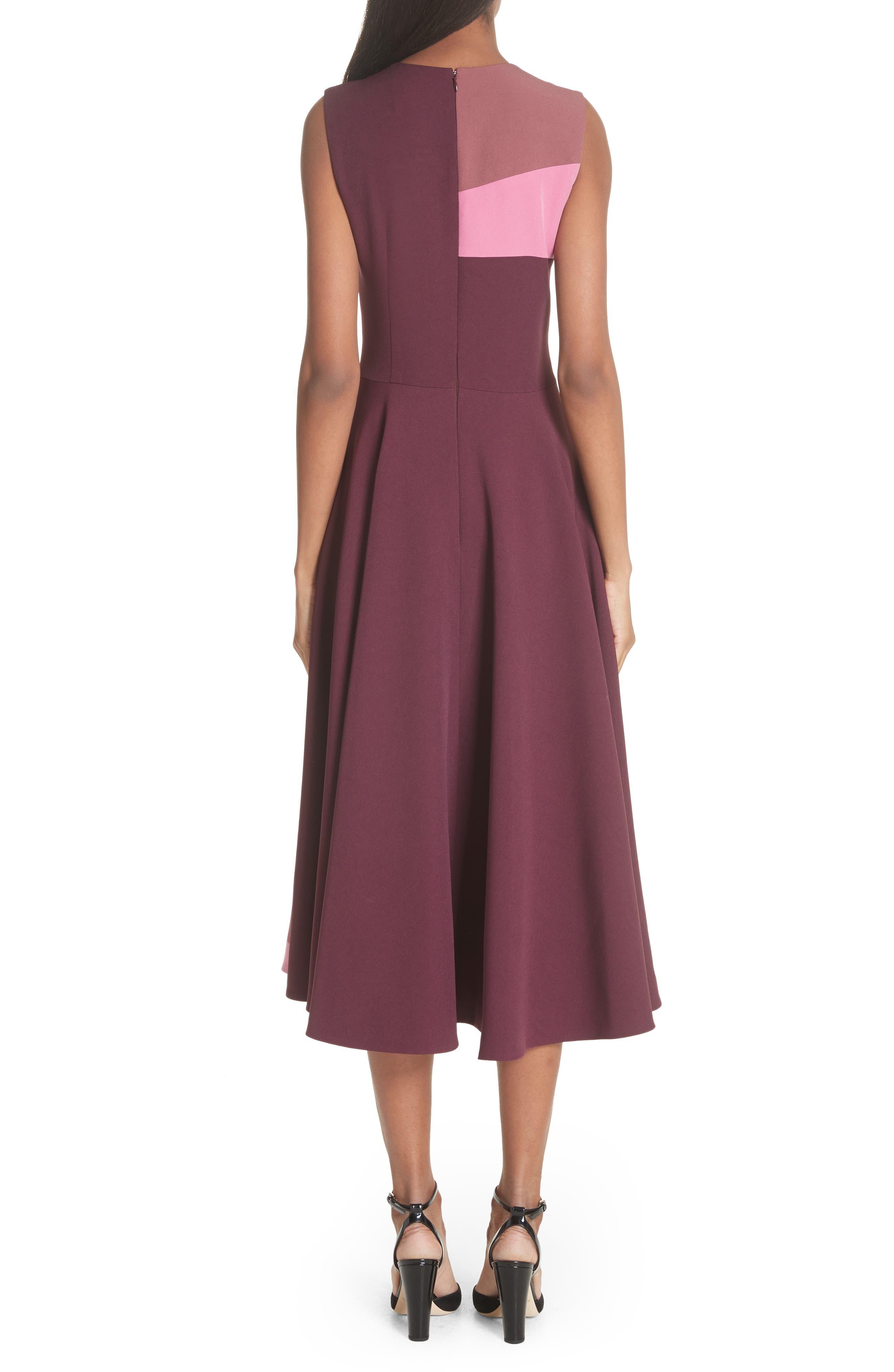 Tatum Stripe Paneled Fit & Flare Dress,                             Alternate thumbnail 2, color,                             Plum/ Blossom/ Mink