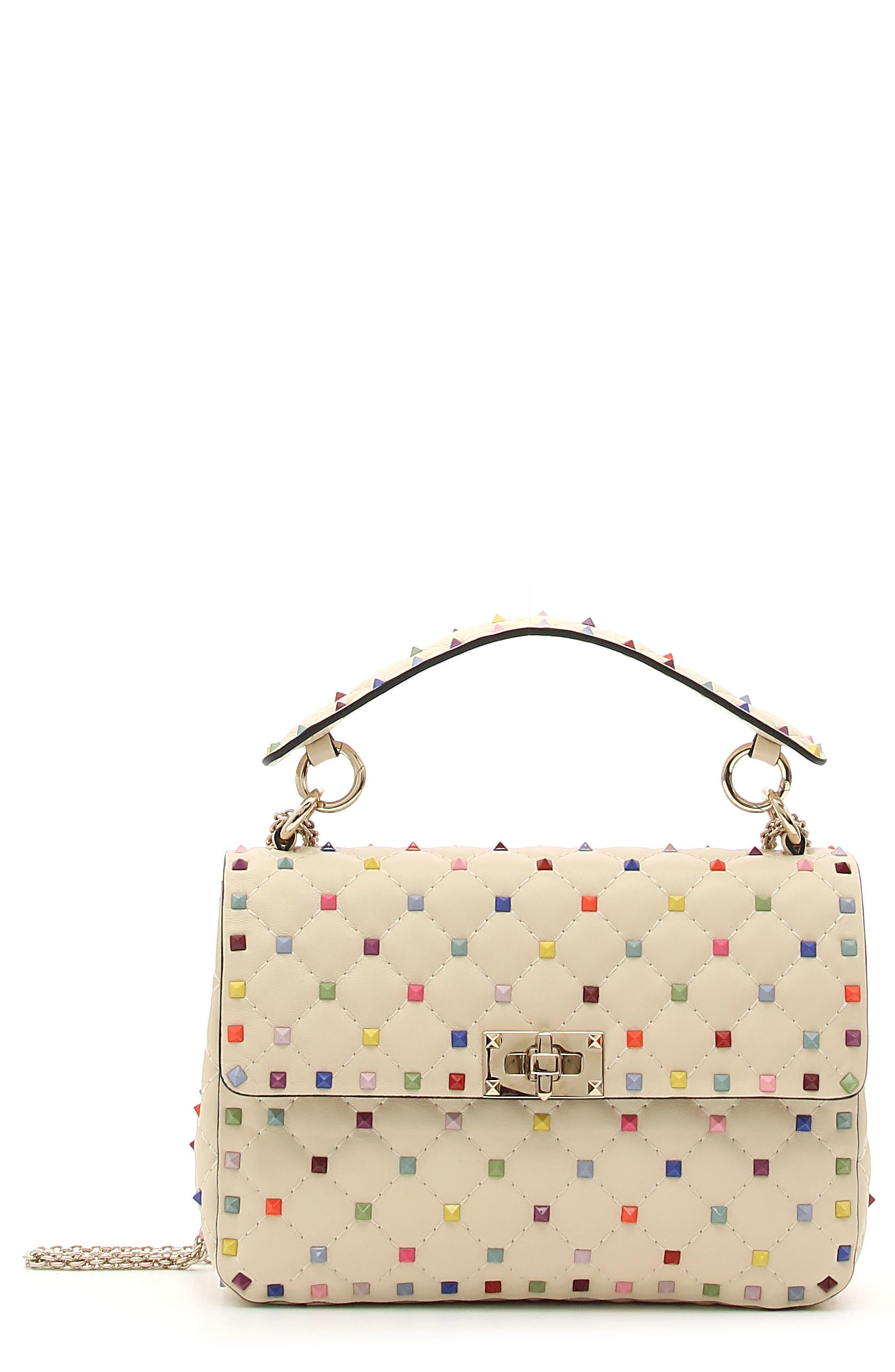VALENTINO GARAVANI Medium Rainbow Rockstud Spike Leather Shoulder Bag