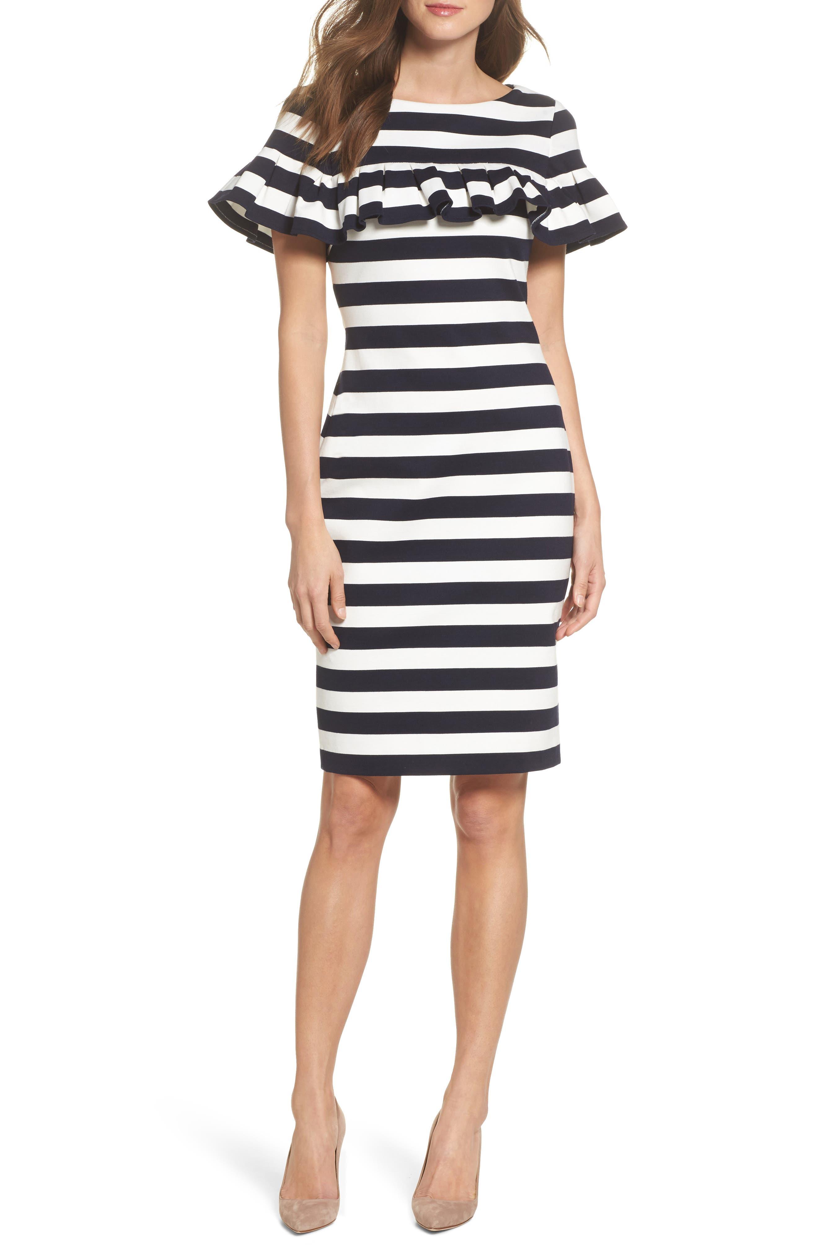 Stripe Ruffle Sheath Dress,                             Main thumbnail 1, color,                             Navy/ Ivory