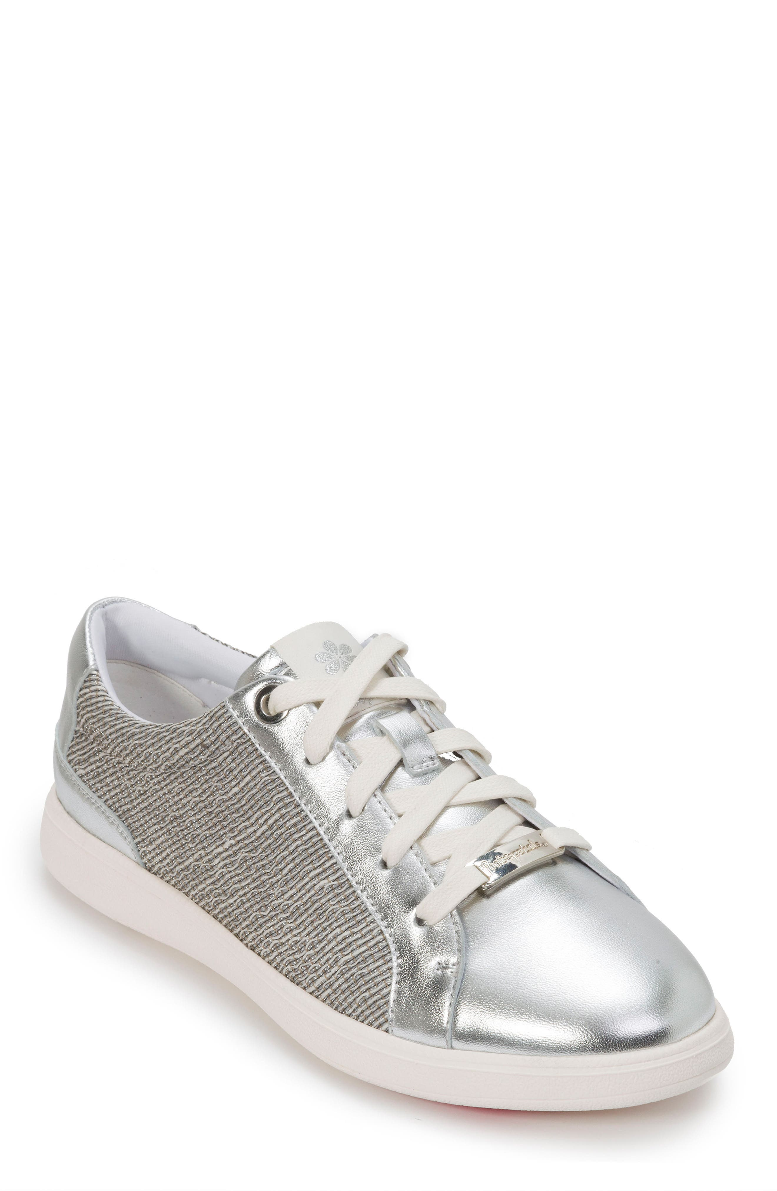FOOT PETALS Andi Sneaker in Silver Leather