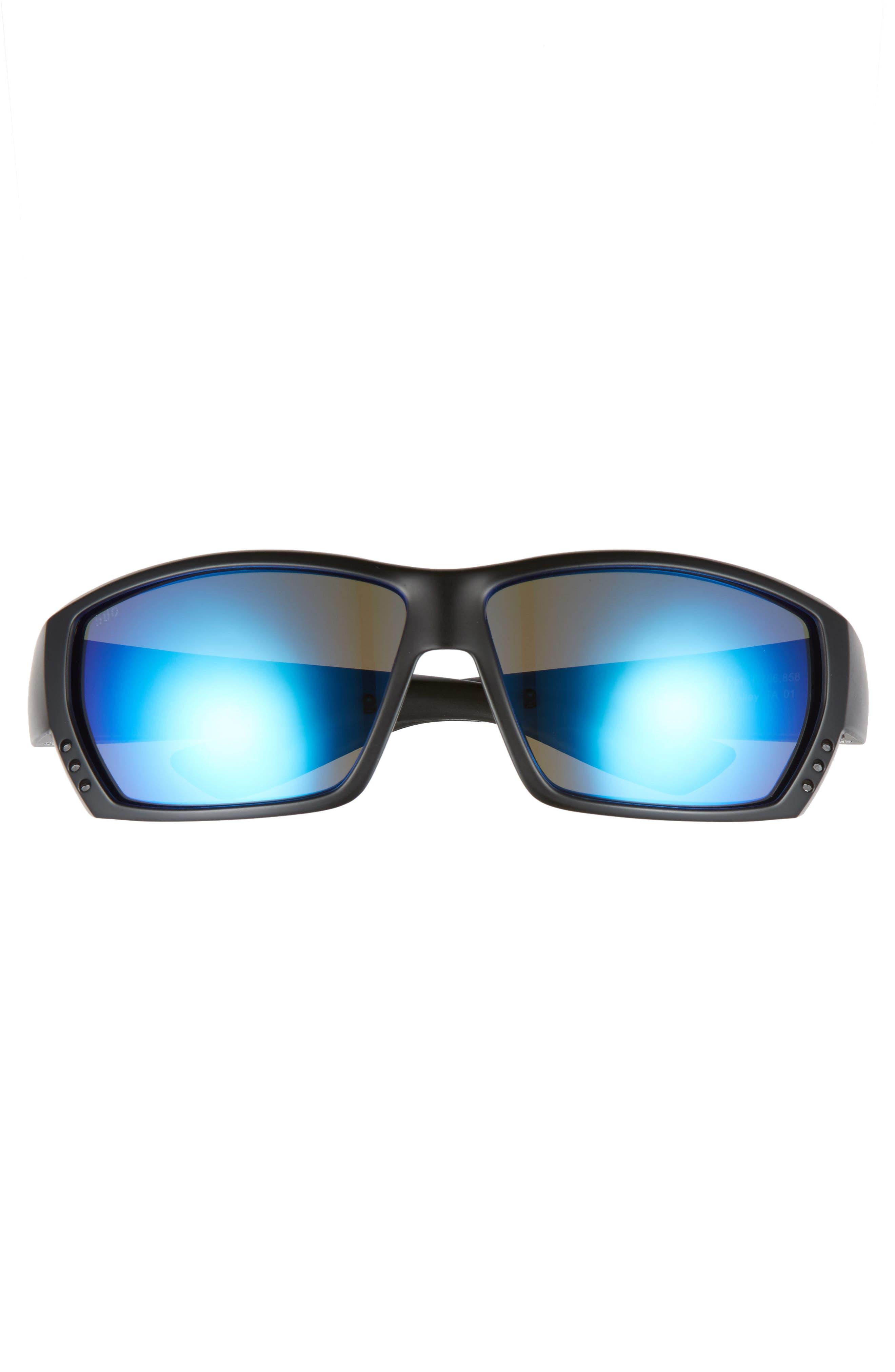 Tuna Alley 60mm Polarized Sunglasses,                             Alternate thumbnail 2, color,                             Blackout/ Blue Mirror