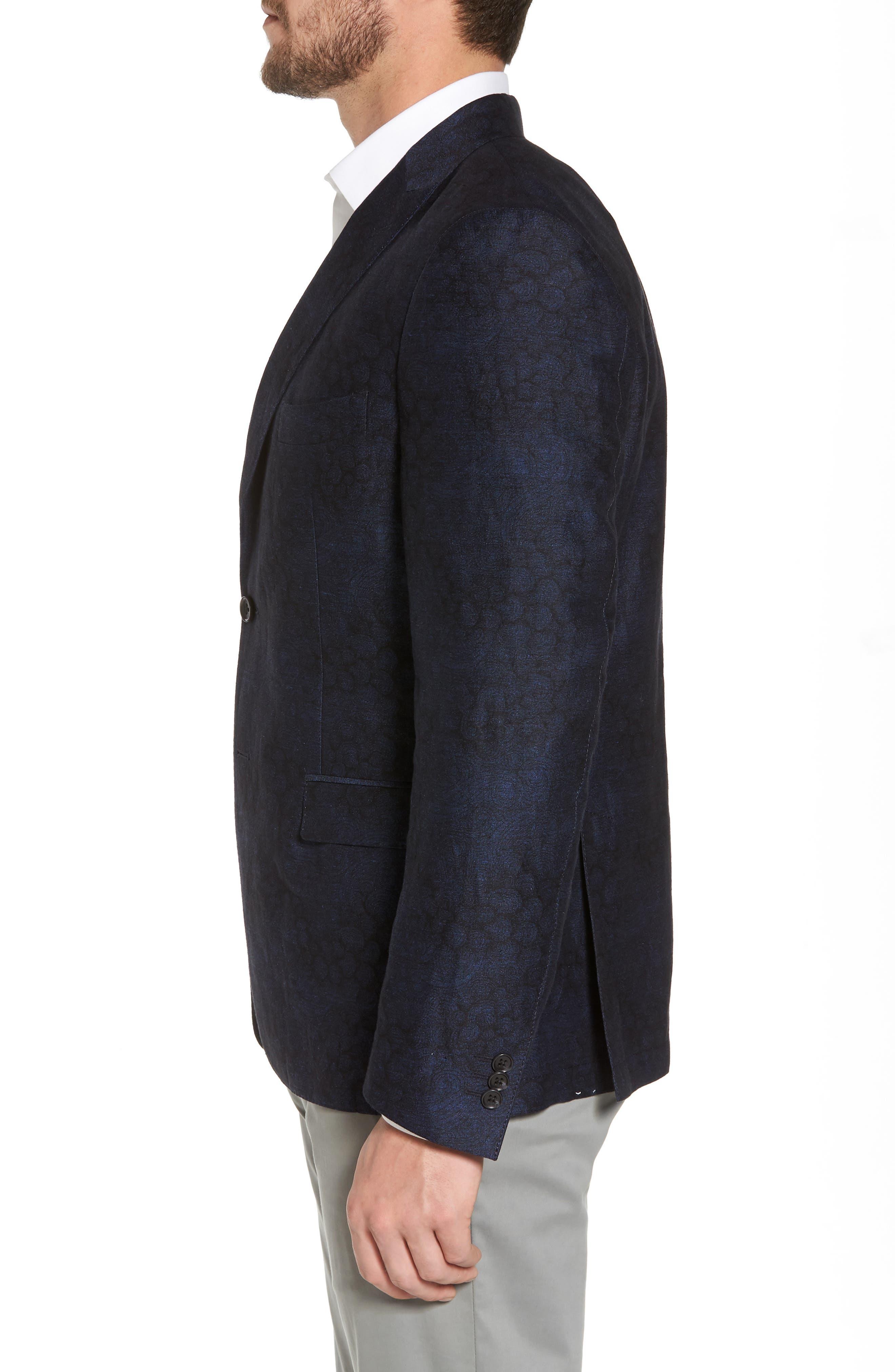 Slim Fit Patterned Linen Blend Sport Coat,                             Alternate thumbnail 3, color,                             Indigo Blue