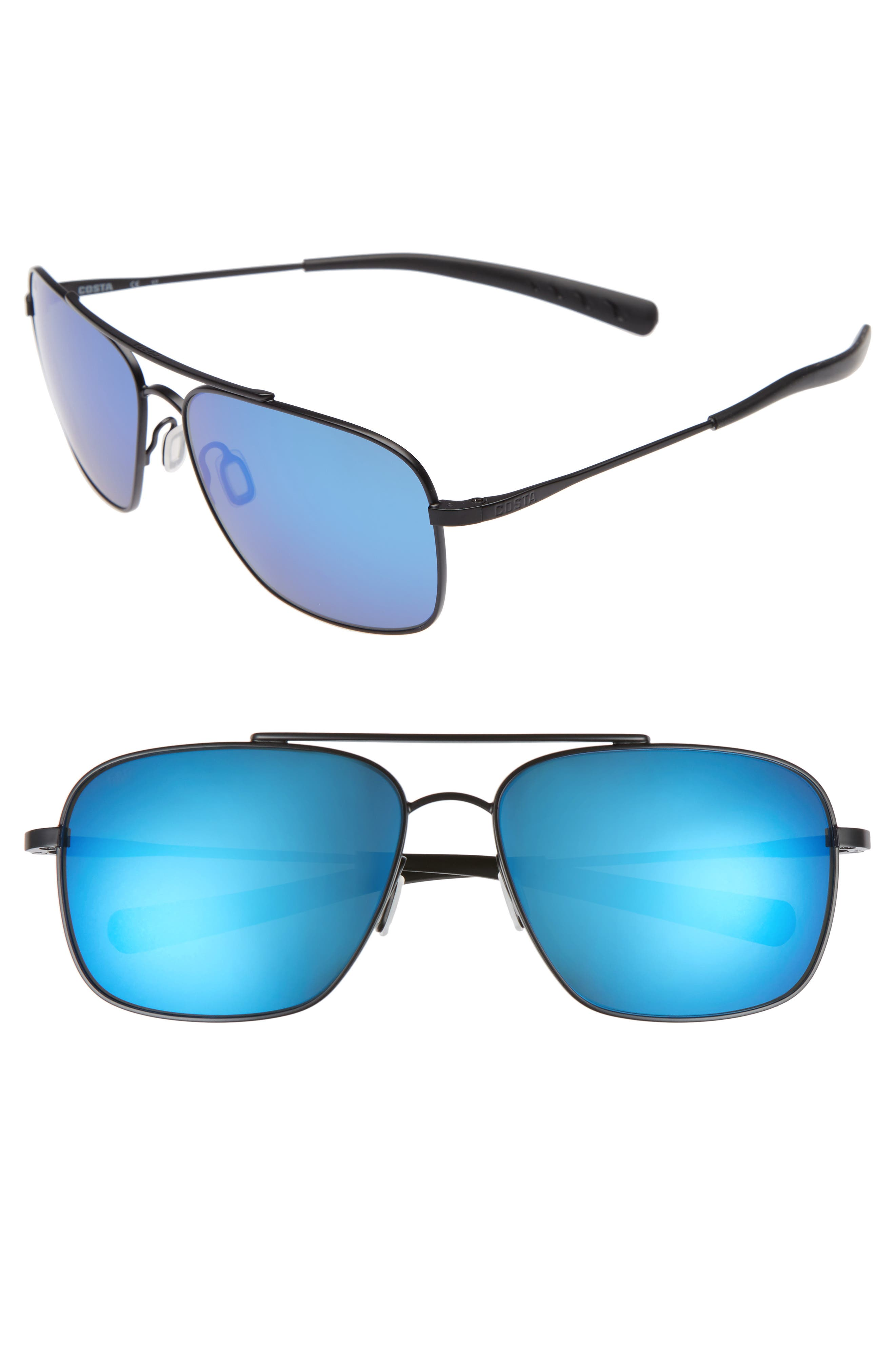 Canaveral 60mm Polarized Sunglasses,                             Main thumbnail 1, color,                             Satin Black/ Blue Mirror