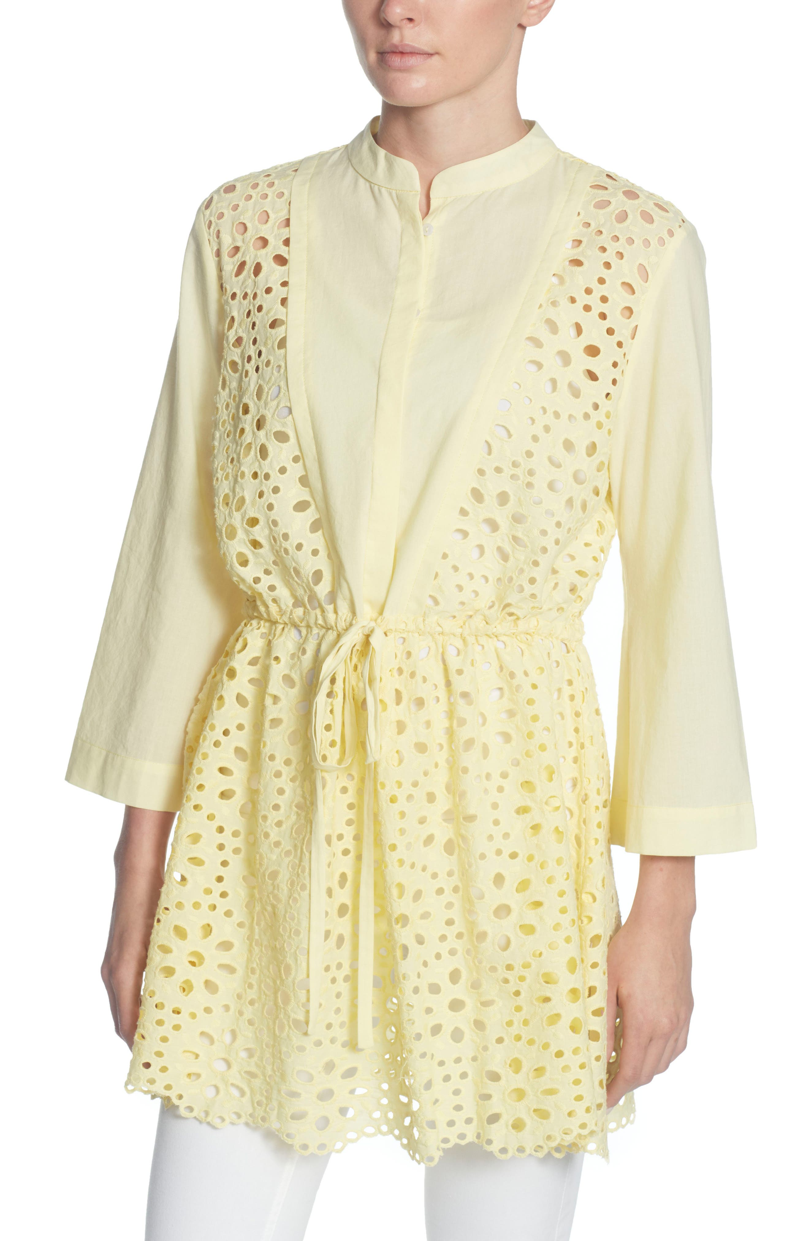 Emelia Eyelet Tie Front Tunic,                             Main thumbnail 1, color,                             Buttermilk