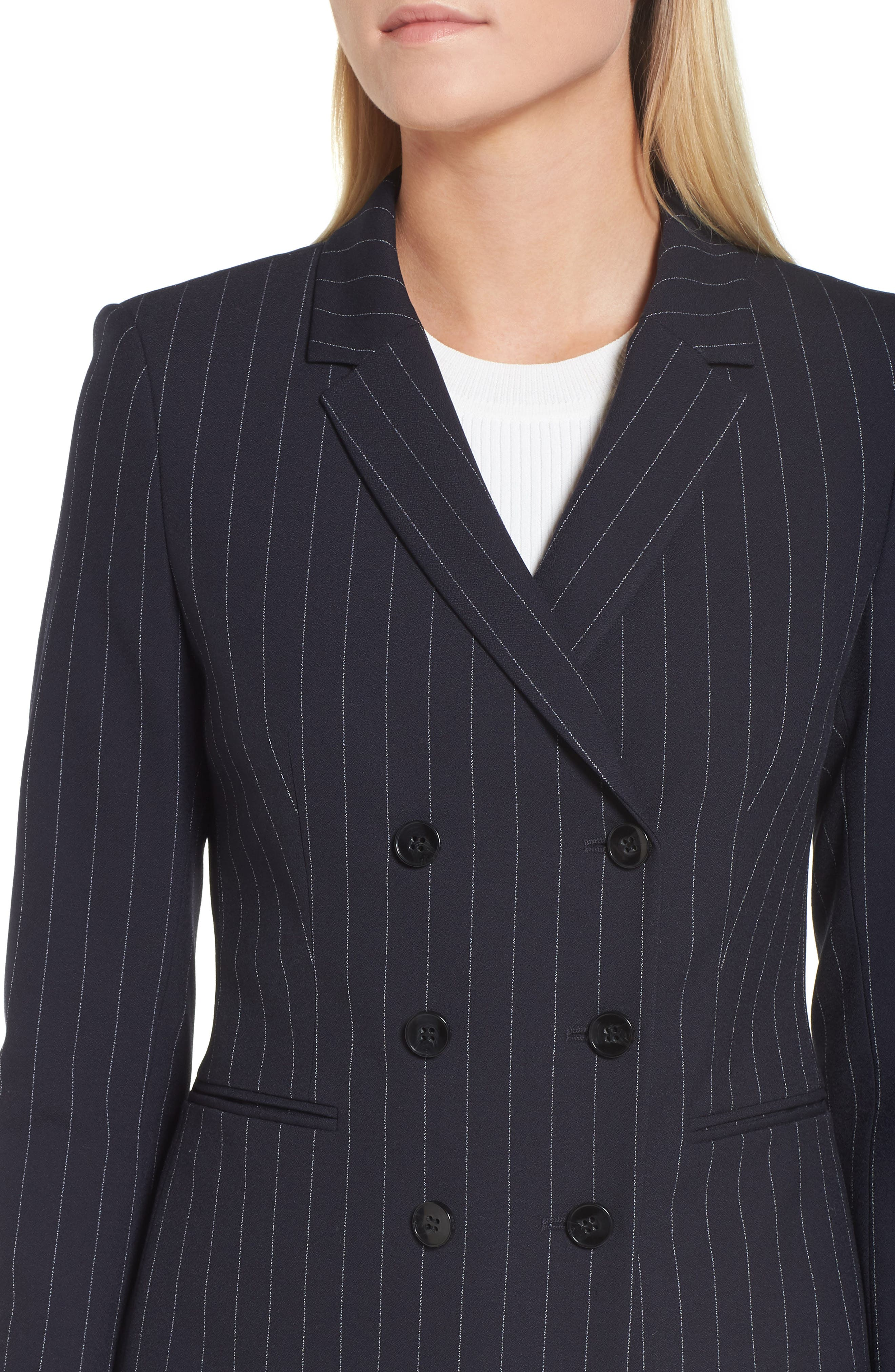Jelaya Double Breasted Suit Jacket,                             Alternate thumbnail 4, color,                             Navy Fantasy