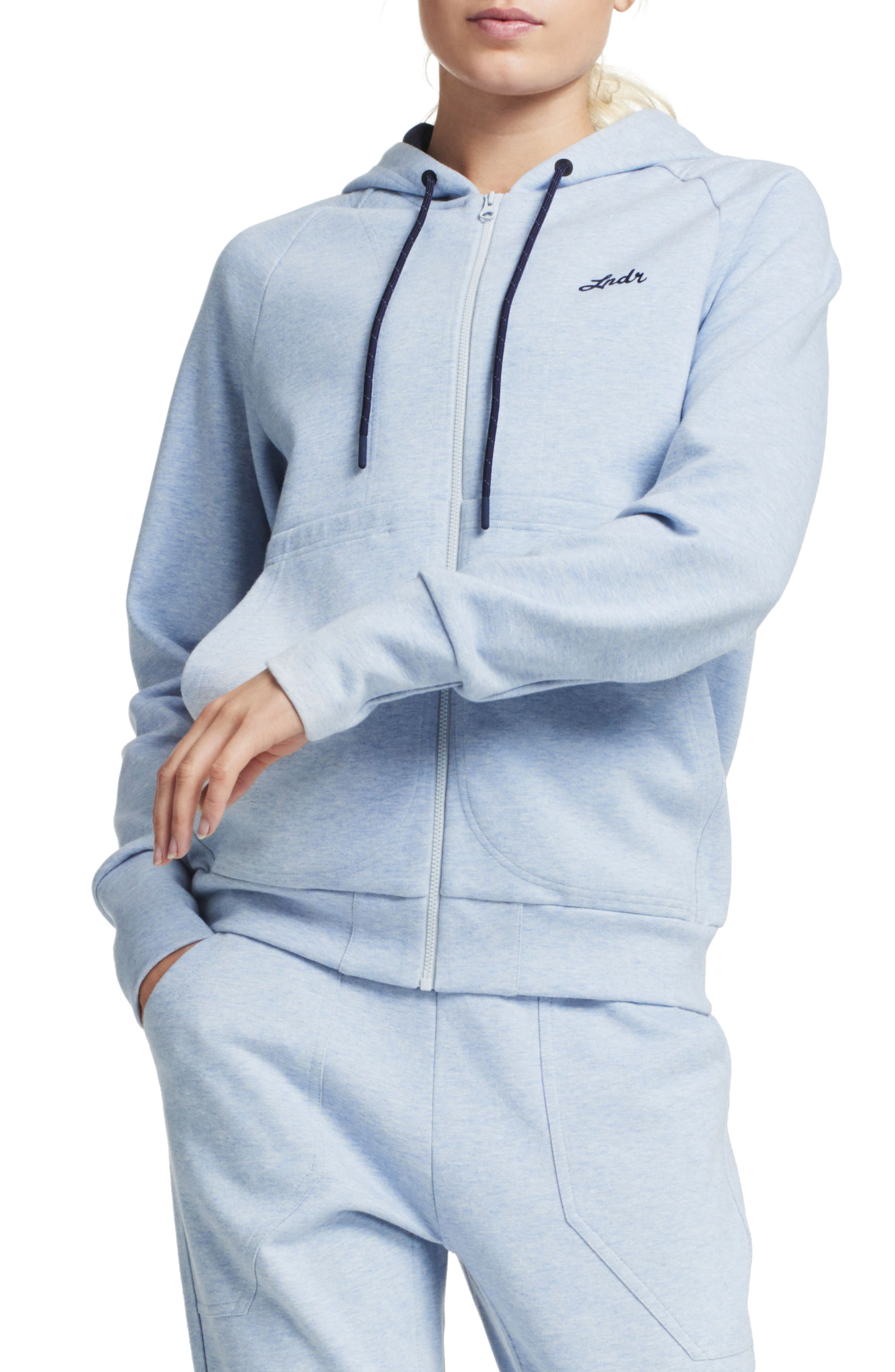 Synergy Zip-Up Hoodie,                         Main,                         color, Light Blue