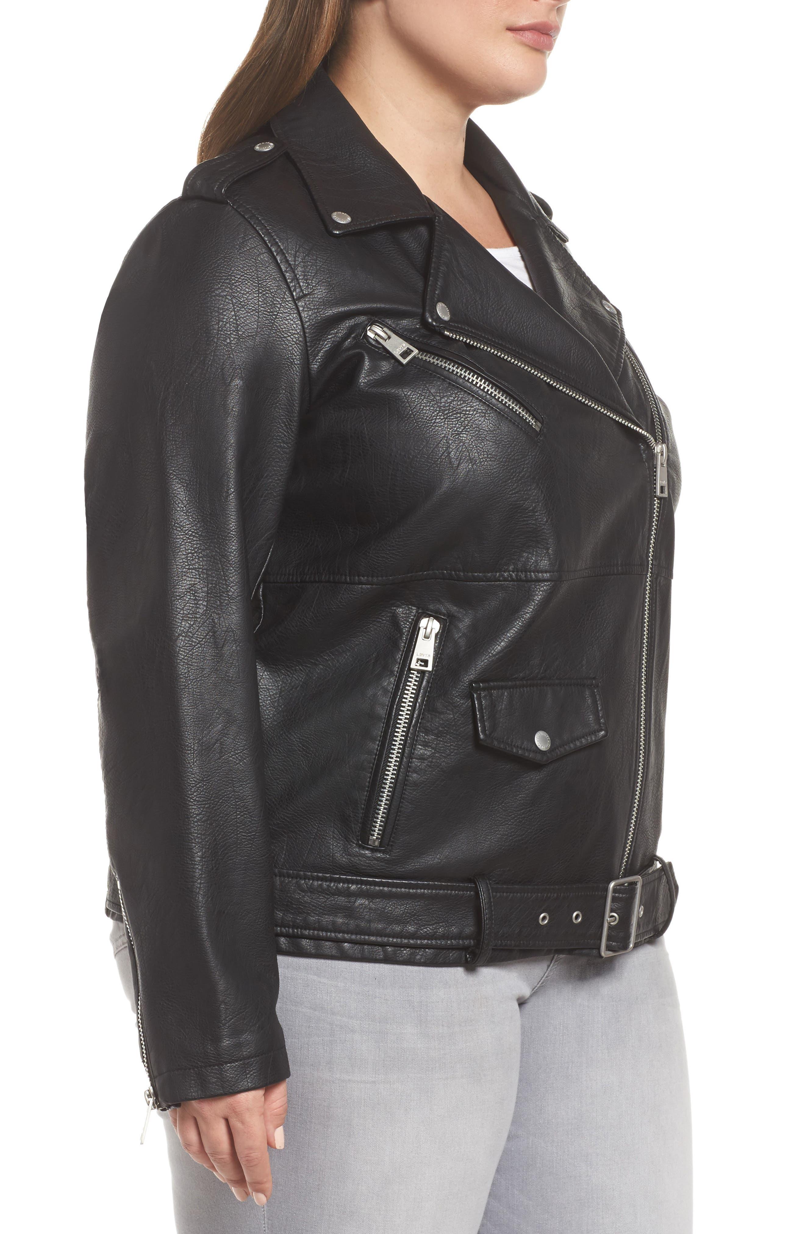 Oversize Faux Leather Moto Jacket,                             Alternate thumbnail 3, color,                             Black