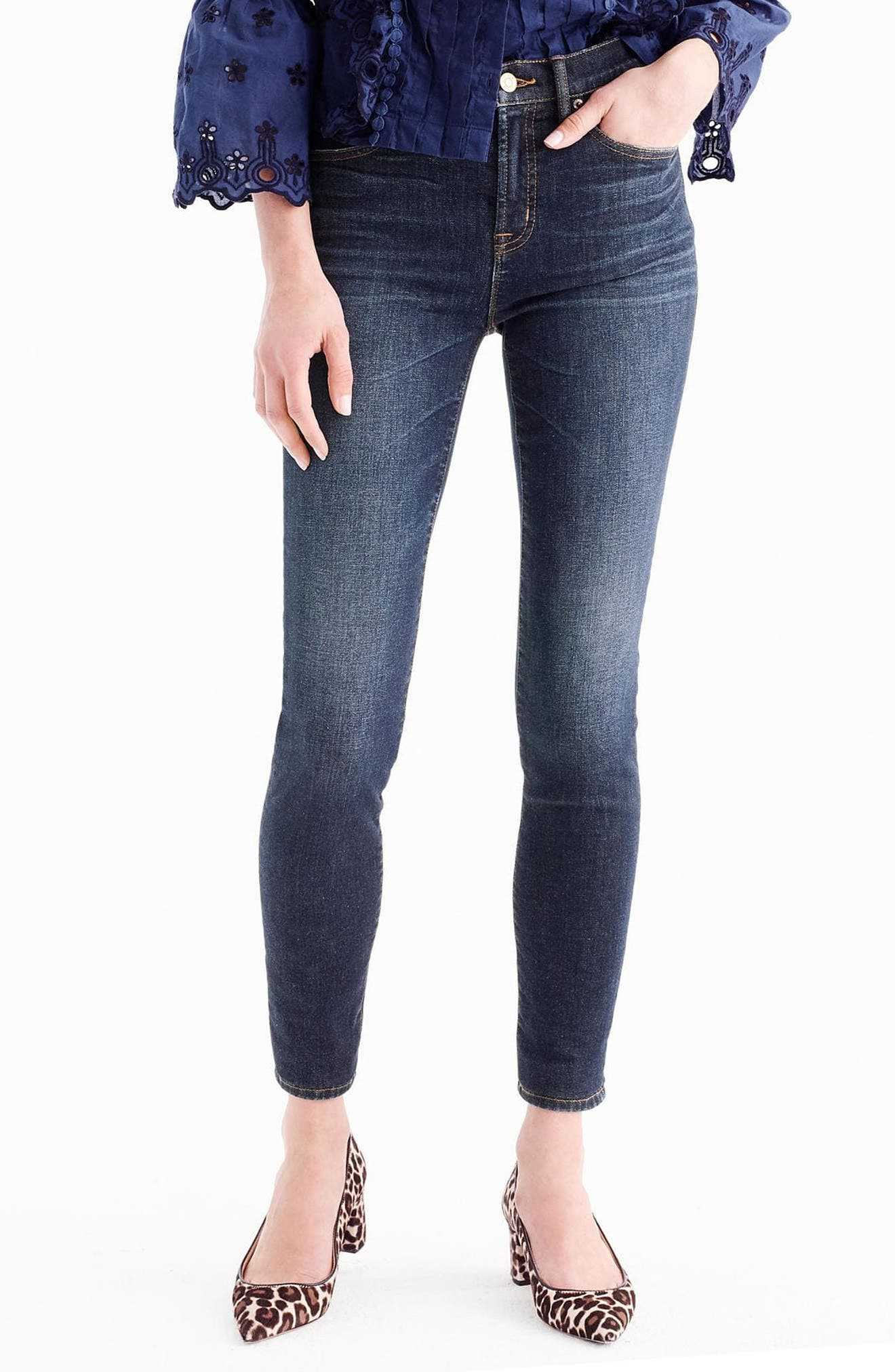 Main Image - J.Crew High Rise Toothpick Jeans (Solano) (Regular & Petite)
