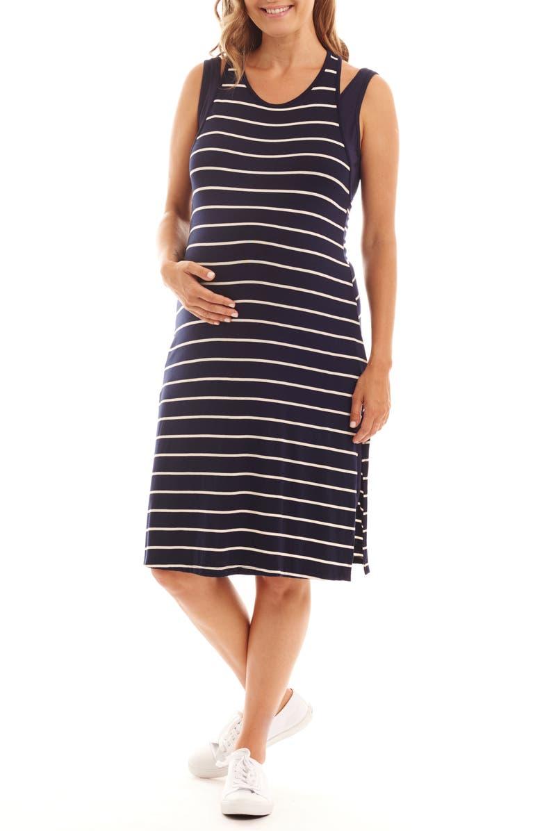 Alex Stripe Two-Piece Maternity/Nursing Dress