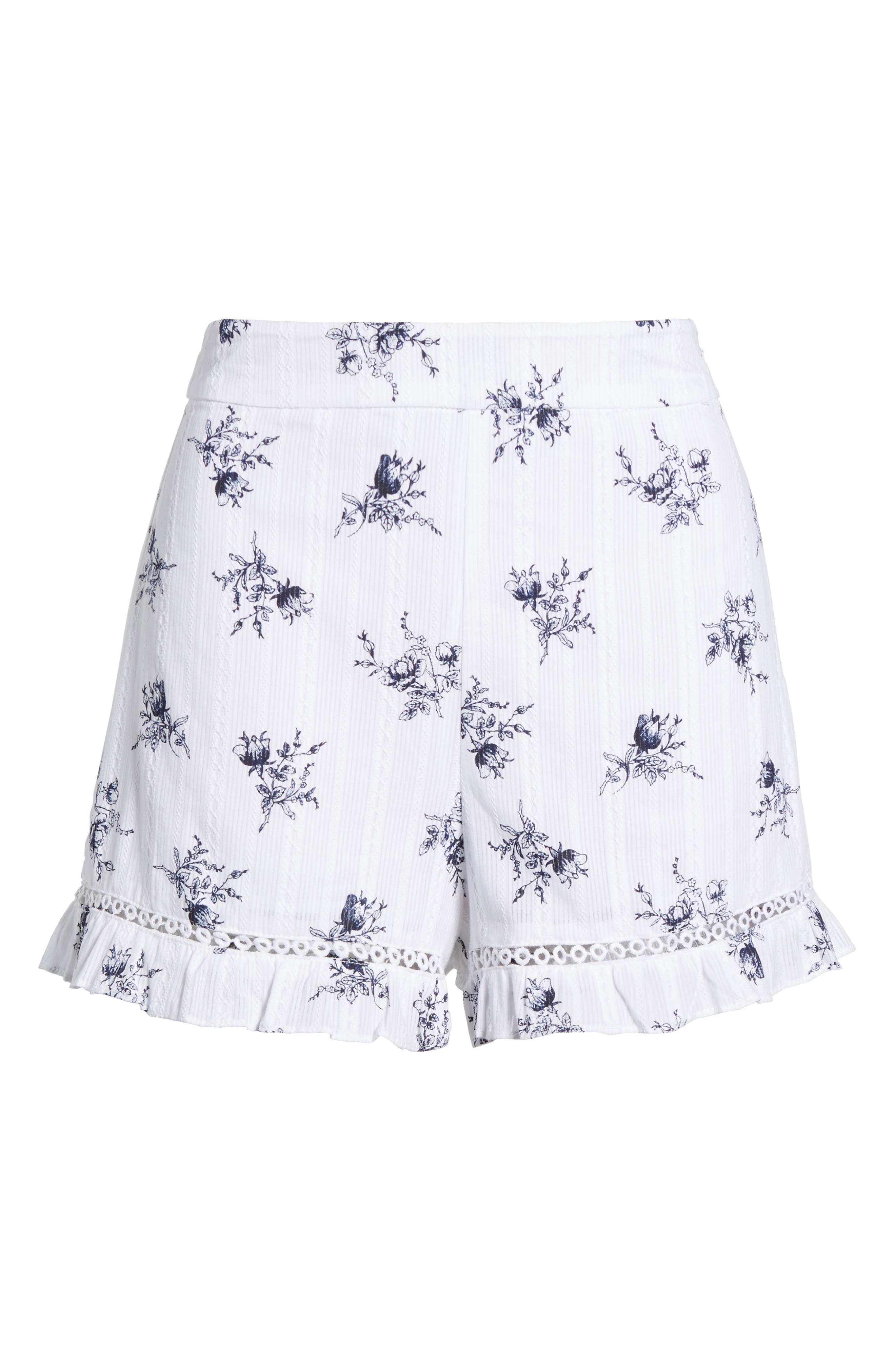 Ruffle Shorts,                             Alternate thumbnail 8, color,                             White/ Navy