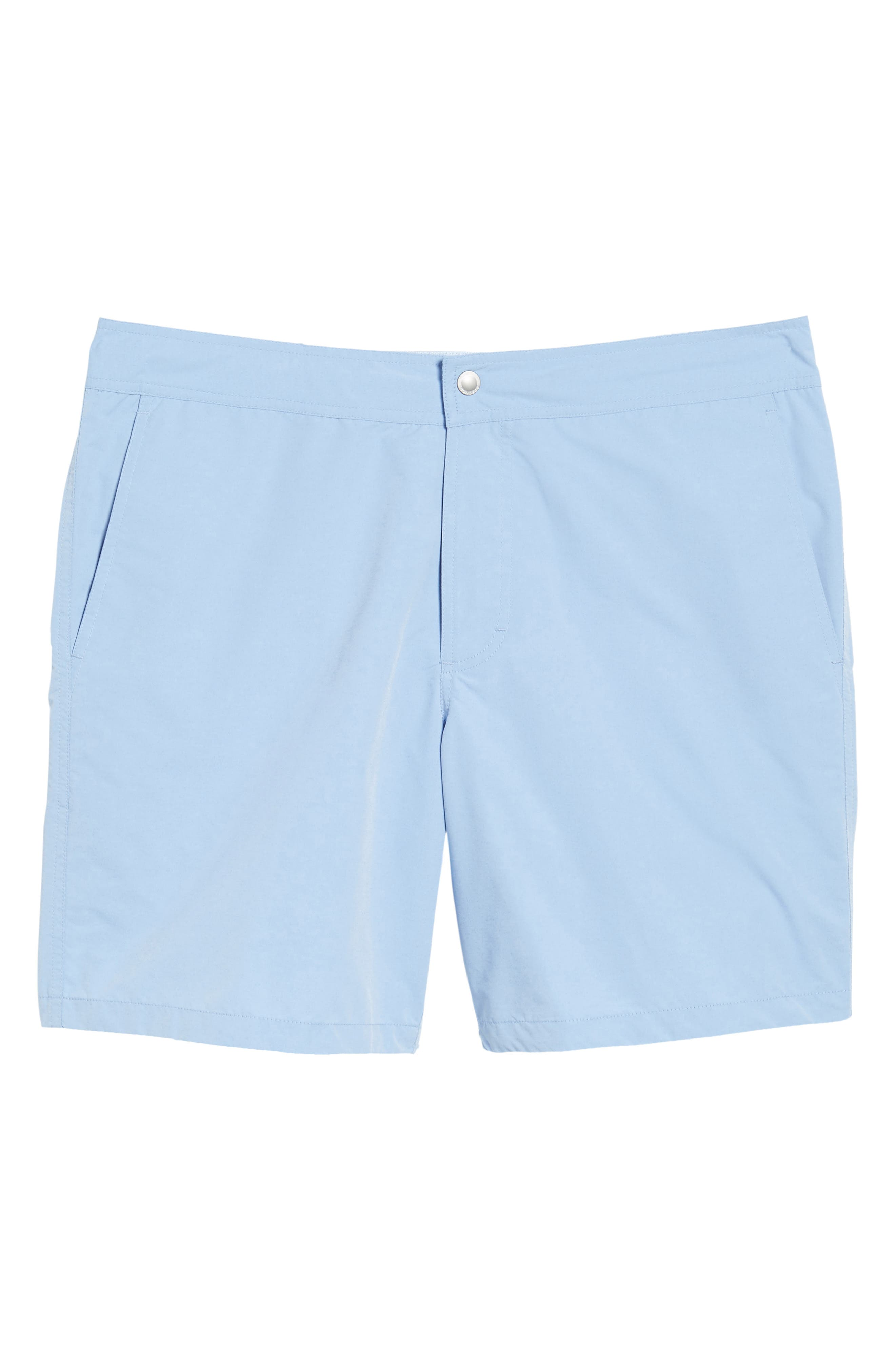 Solid 7-Inch Swim Trunks,                             Alternate thumbnail 6, color,                             Blue Chambray